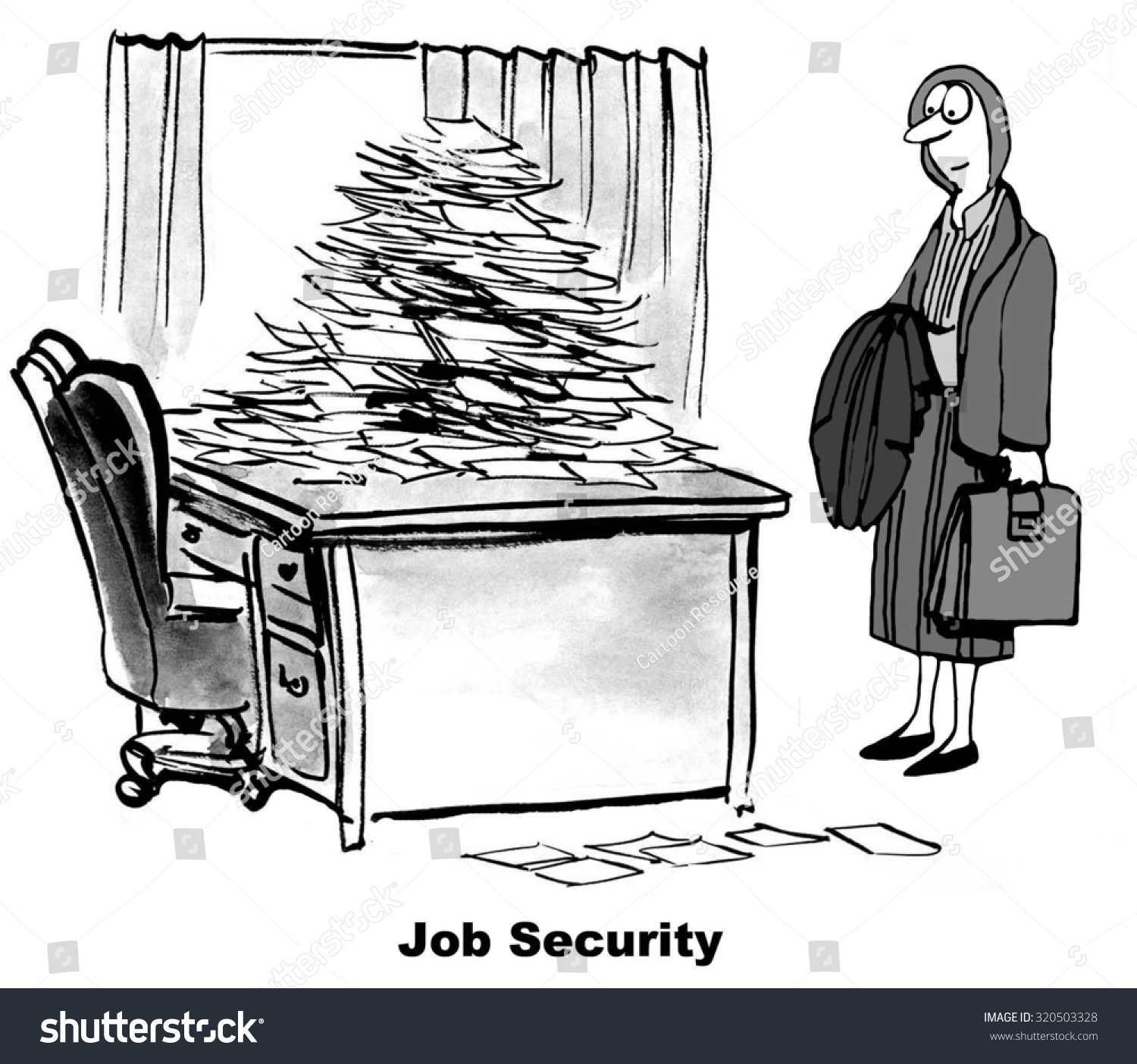 Business Cartoon Showing Businesswoman Looking At Her Desk
