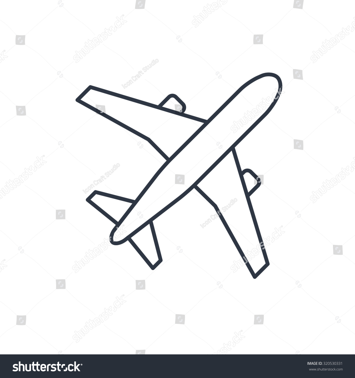 Airplane Vector Outline Icon Stock Vector 320530331 ...