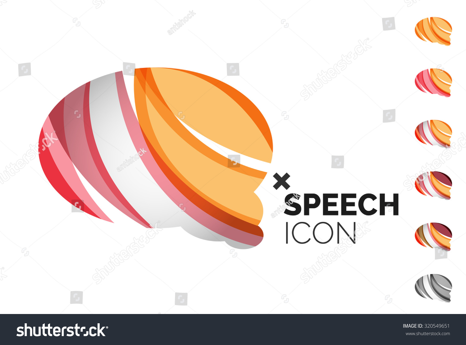 Set of abstract speech bubble and cloud icons, business logotype concepts, clean modern geometric design. Created with transparent abstract wave lines #320549651