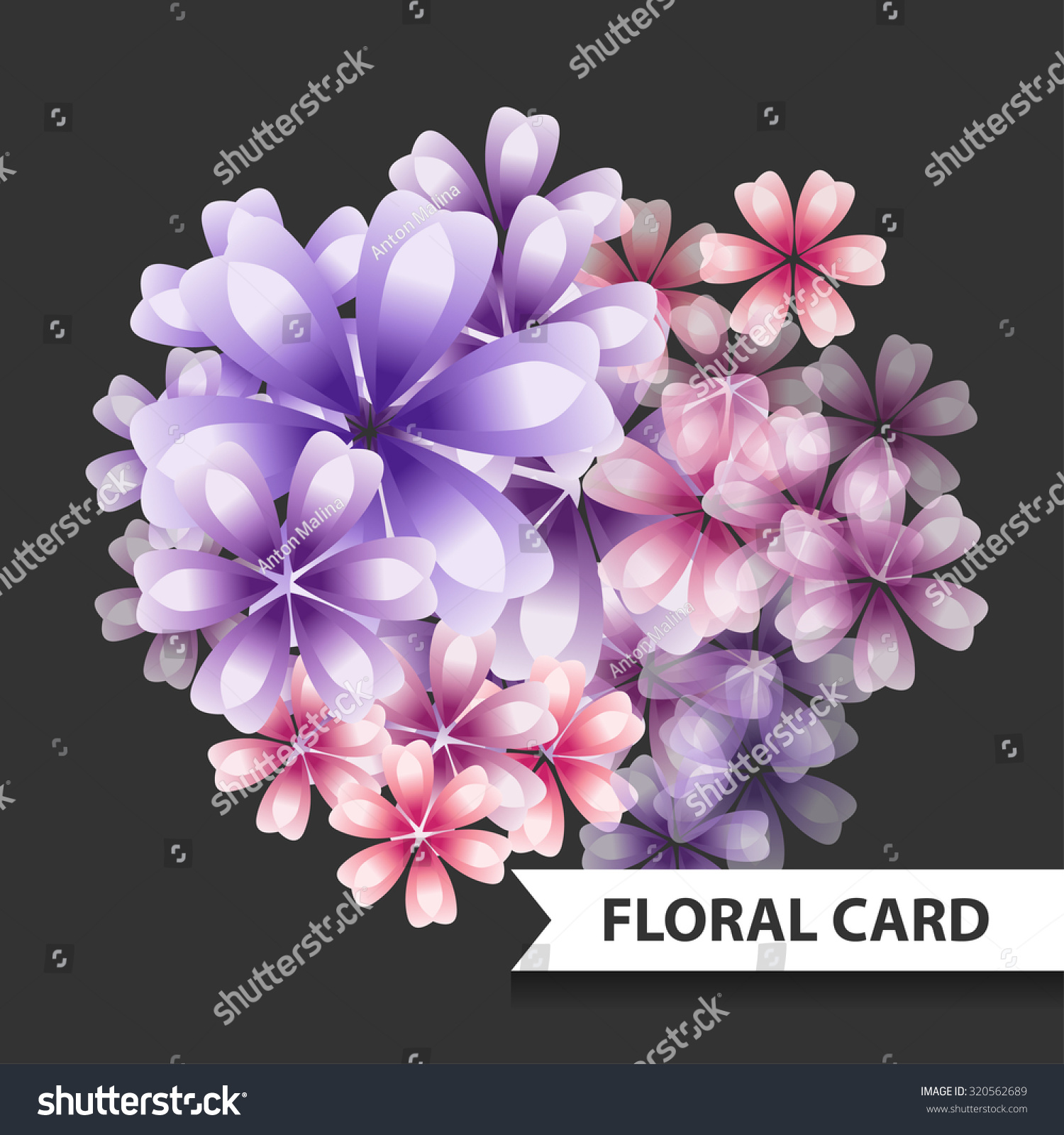 Pink Purple Flowers Card Freesia Bouquet Stock Vector Royalty Free