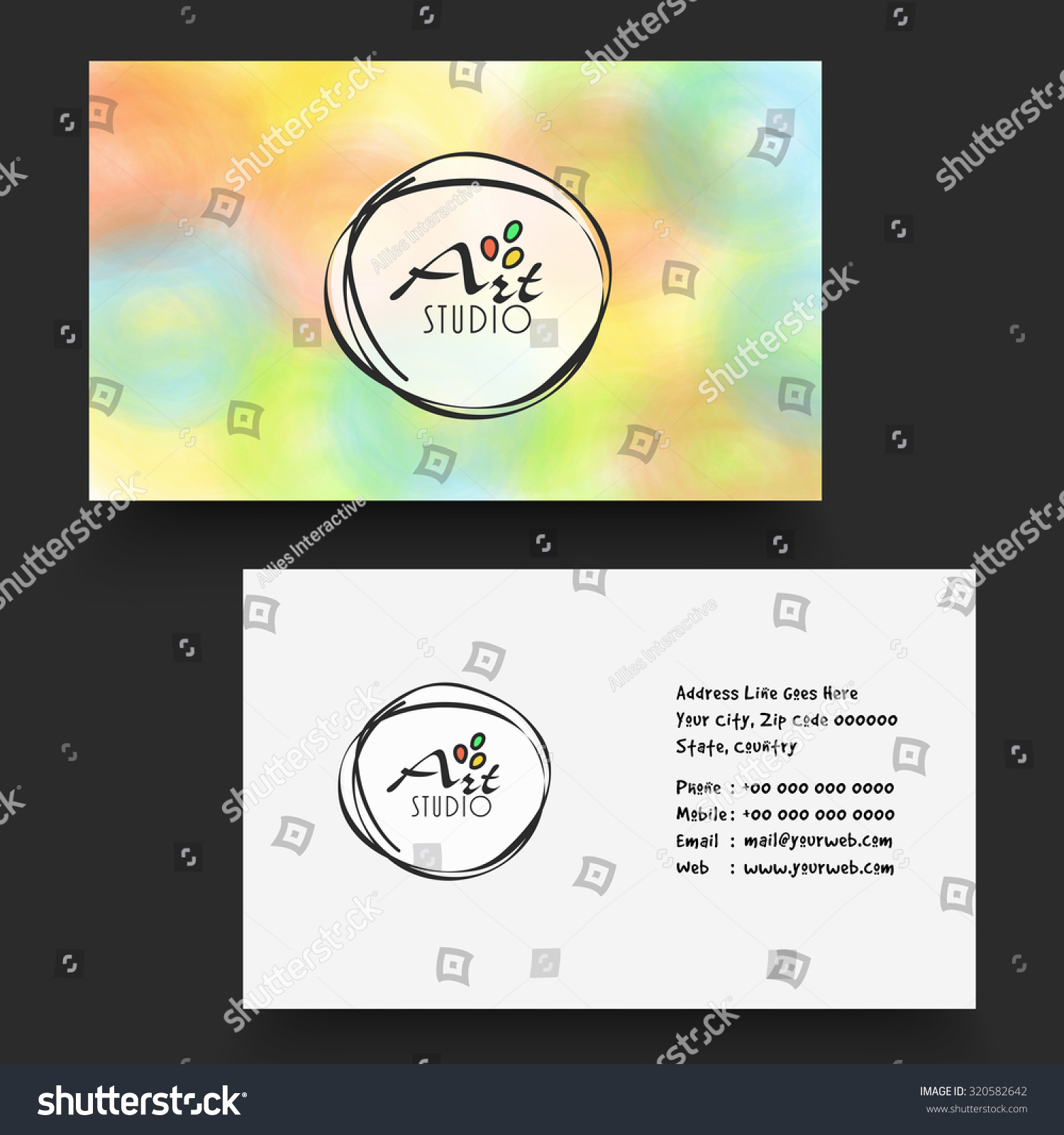 Beautiful Stylish Horizontal Business Card Name Stock Vector ...