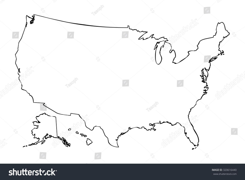 United States Map Without States.Royalty Free Stock Illustration Of Map United States America Black