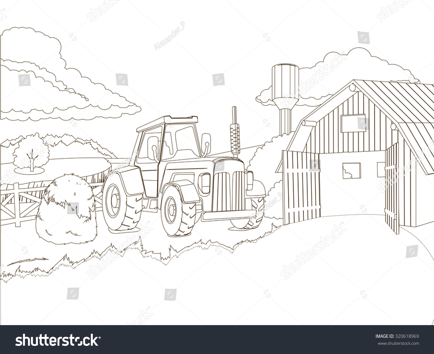 Tractor On Farm Coloring Book Raster Stockillustration 320618969 ...