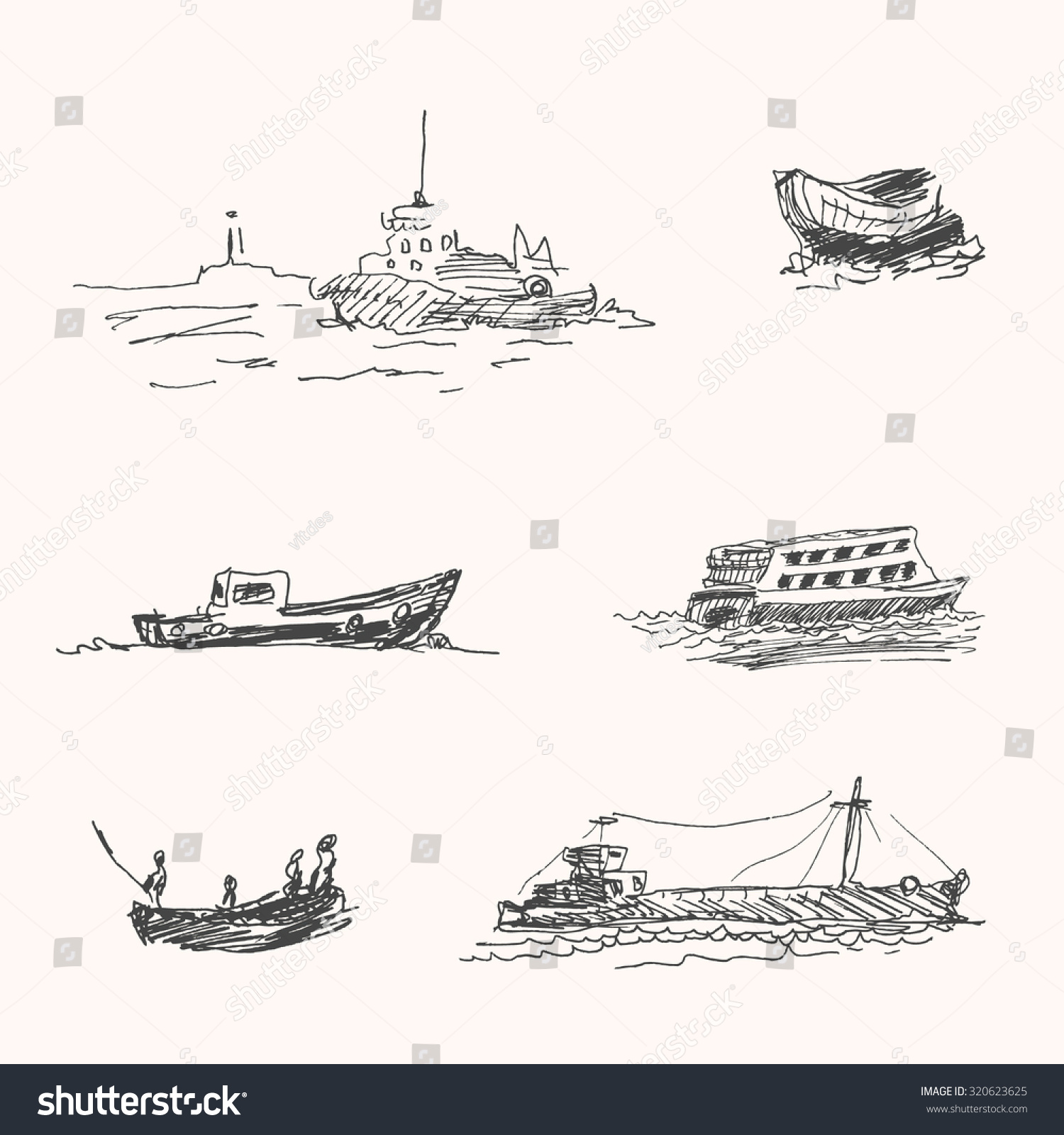 Ocean Ship Or Vessel Marina Drawings Set In Hand Drawn Sketch Style For Freight