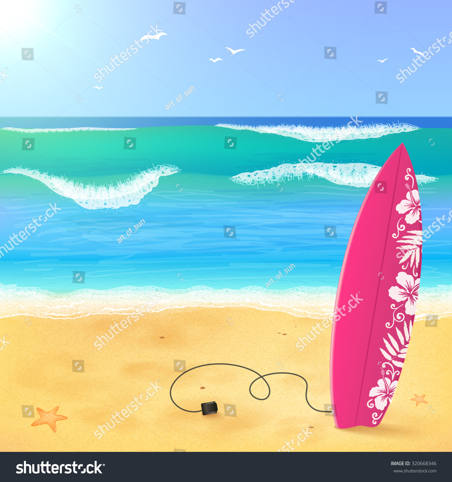 Pink surfing board on the beach with waves vector illustration