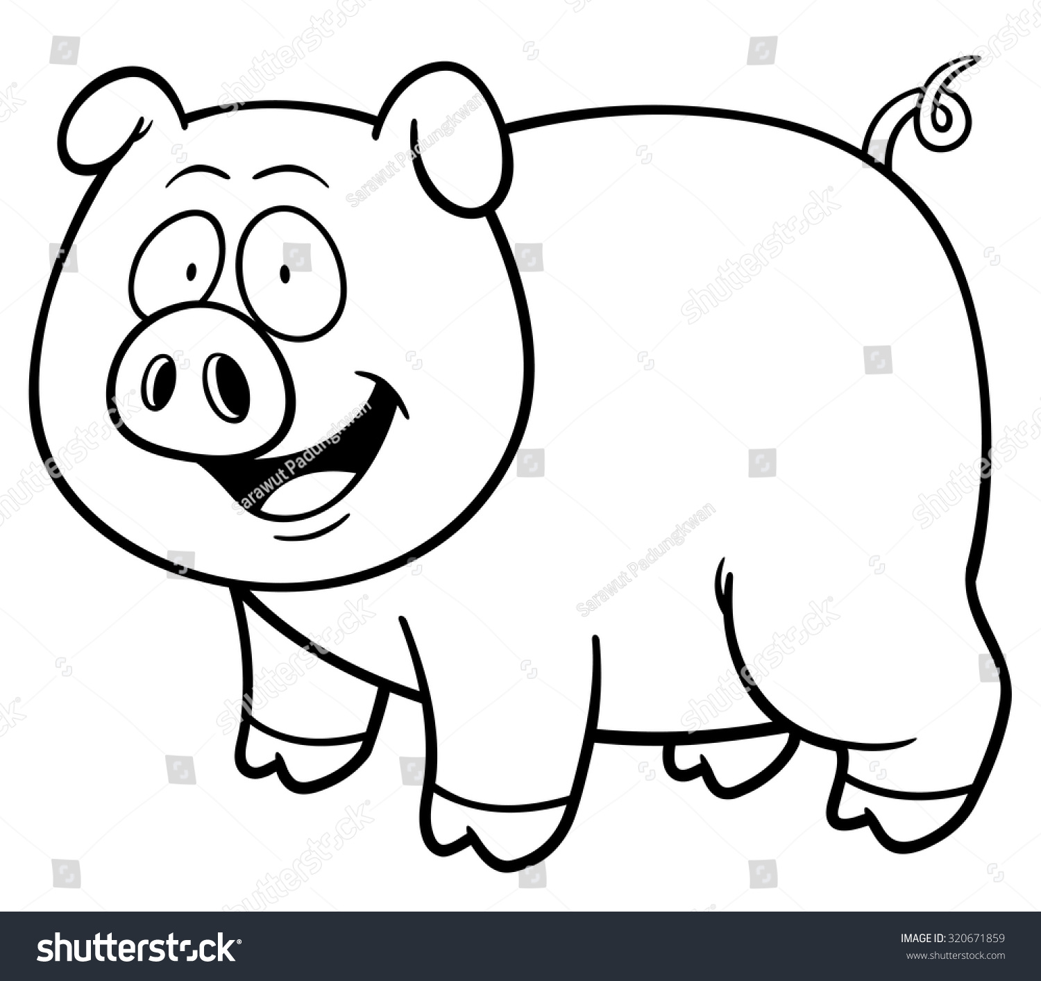 Vector Illustration Cartoon Pig Coloring Book Stock Vector ...