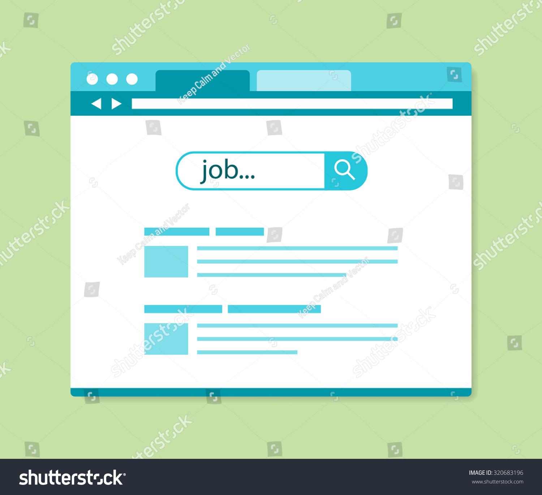 Flat Design Online Job Search Results Vector Illustration
