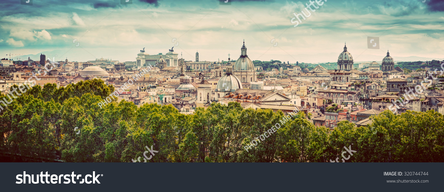 Panorama of the ancient city of Rome Italy As seen from Castel Sant'Angelo Vintage