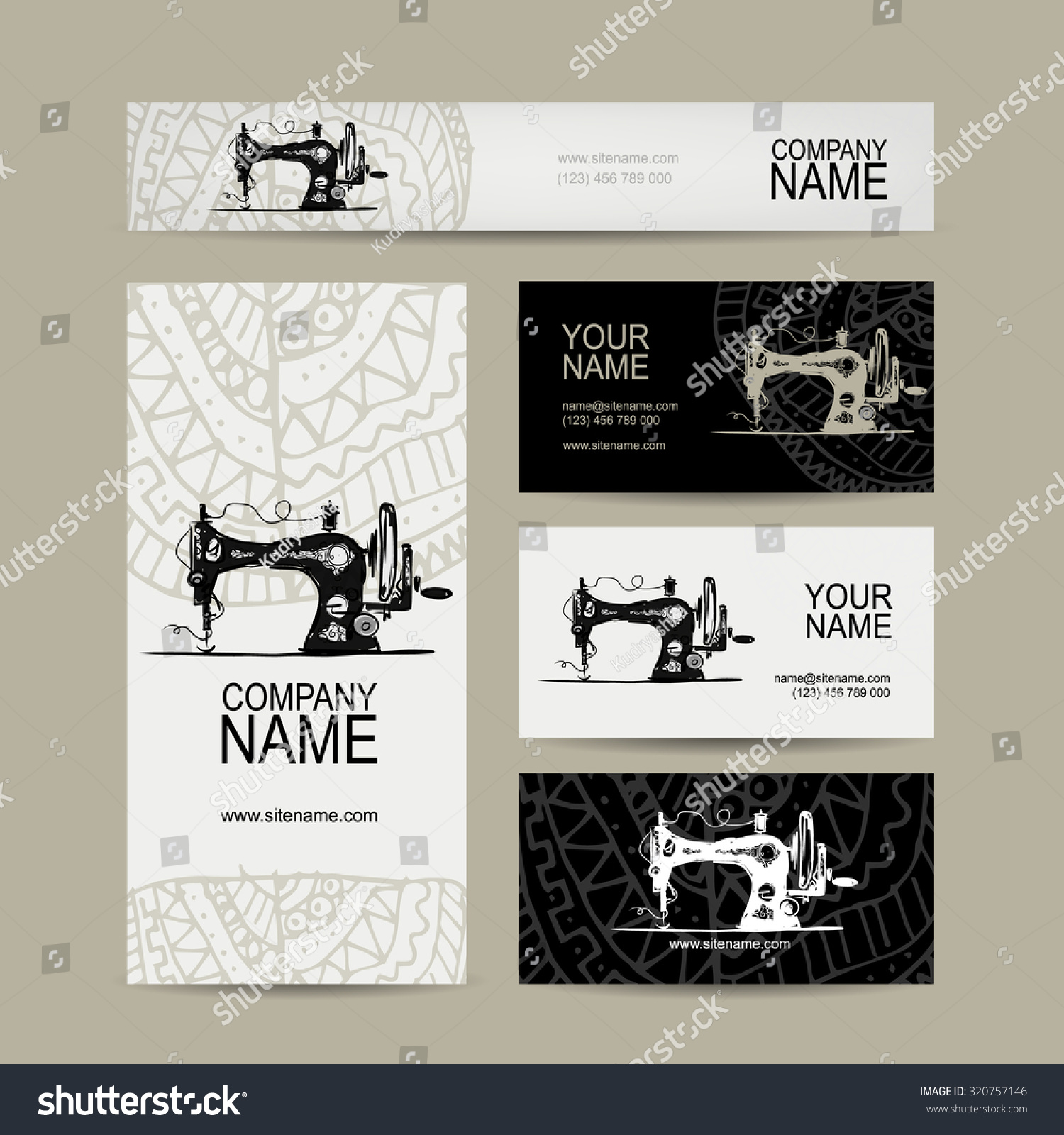 Business Cards Design Sewing Maschine Sketch Stock Vector HD ...