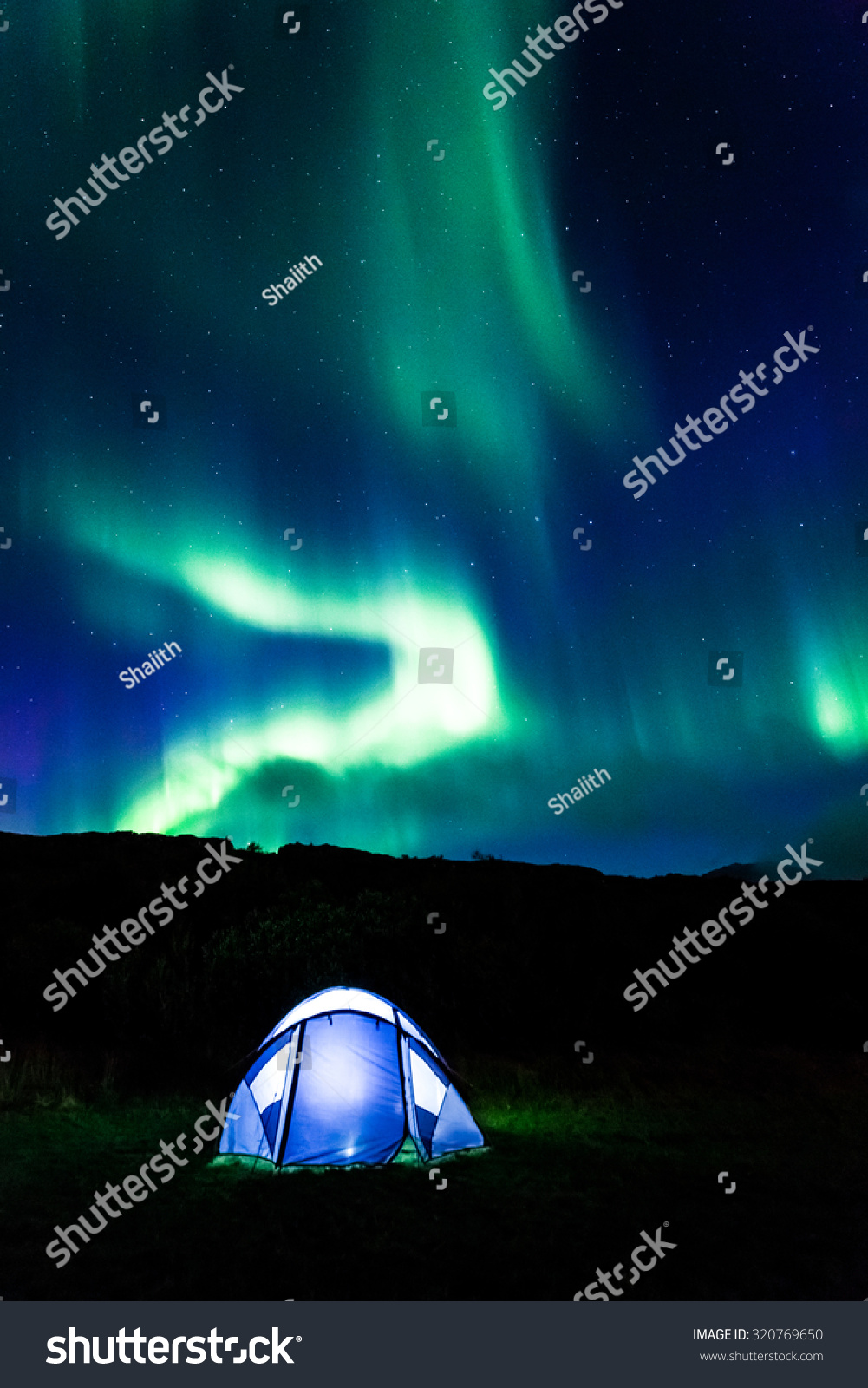 Illuminated tent and aurora in Iceland & Illuminated Tent Aurora Iceland Stock Photo 320769650 - Shutterstock