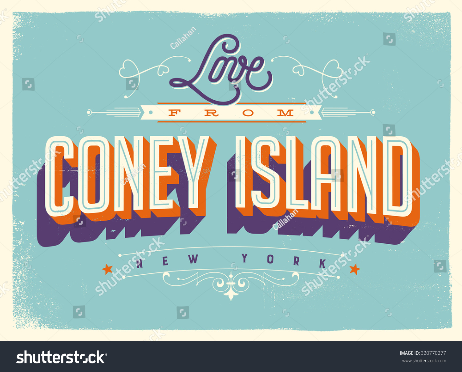 Vintage style touristic greeting card texture stock vector 320770277 vintage style touristic greeting card with texture effects love from coney island new york kristyandbryce Gallery