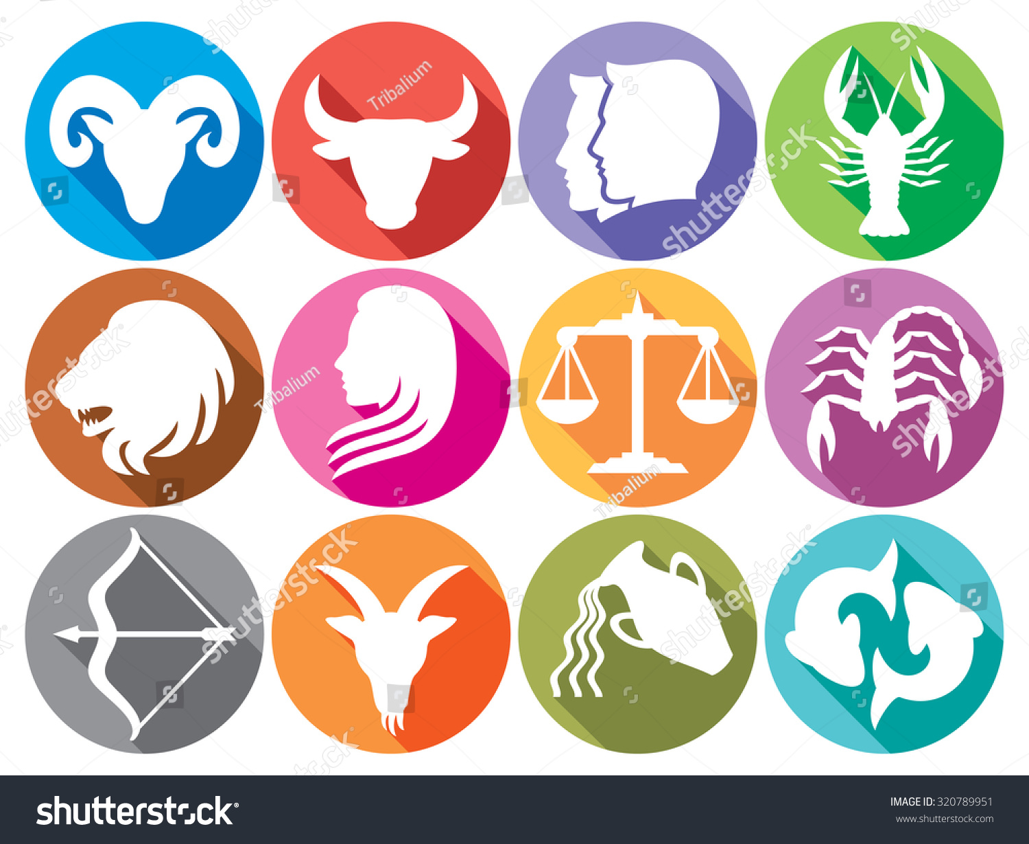 Zodiac Signs Flat Buttons Set Horoscope Stock Vector Royalty Free