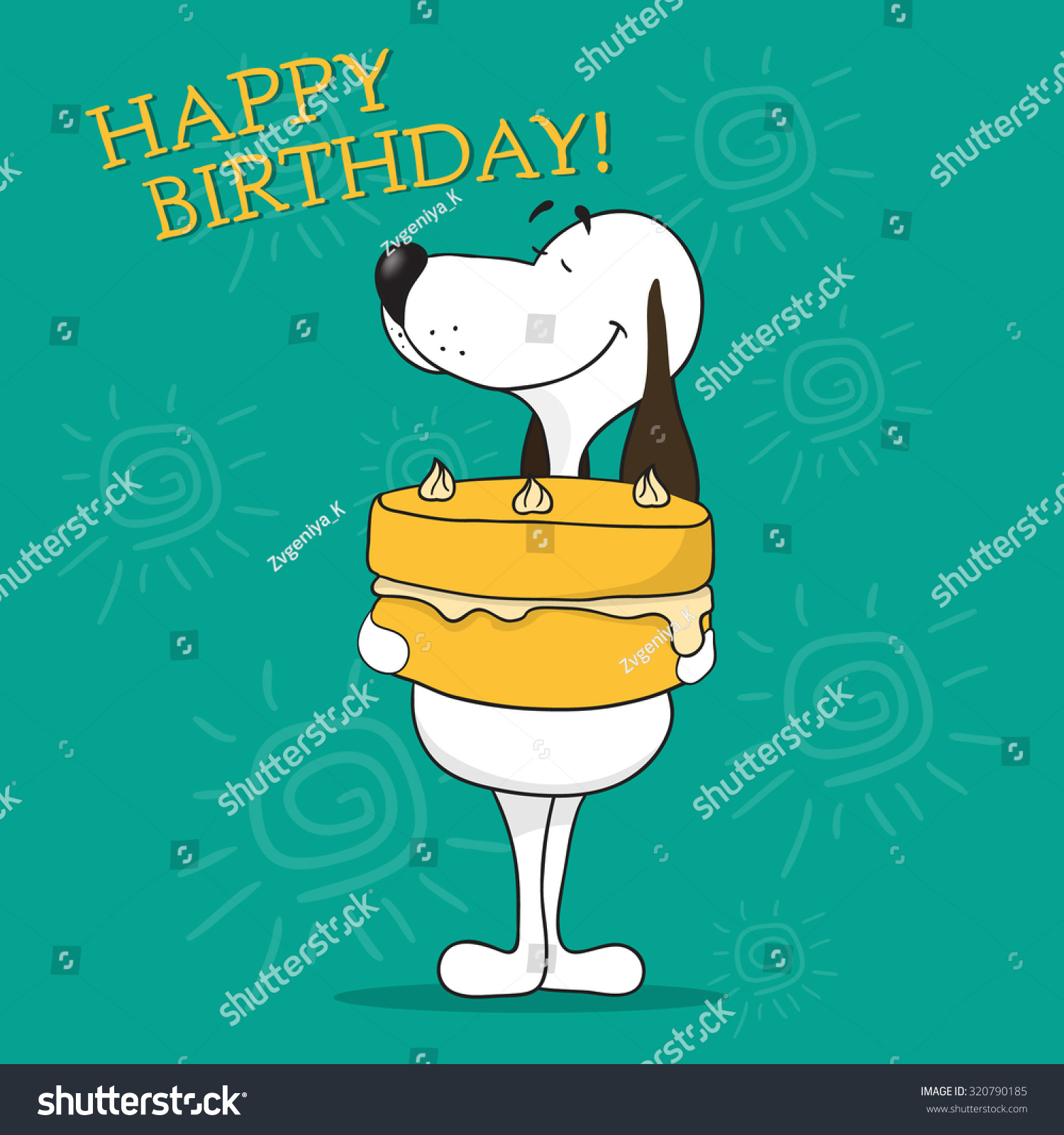 Greeting Card Happy Birthday Funny Cartoon Stock Vector