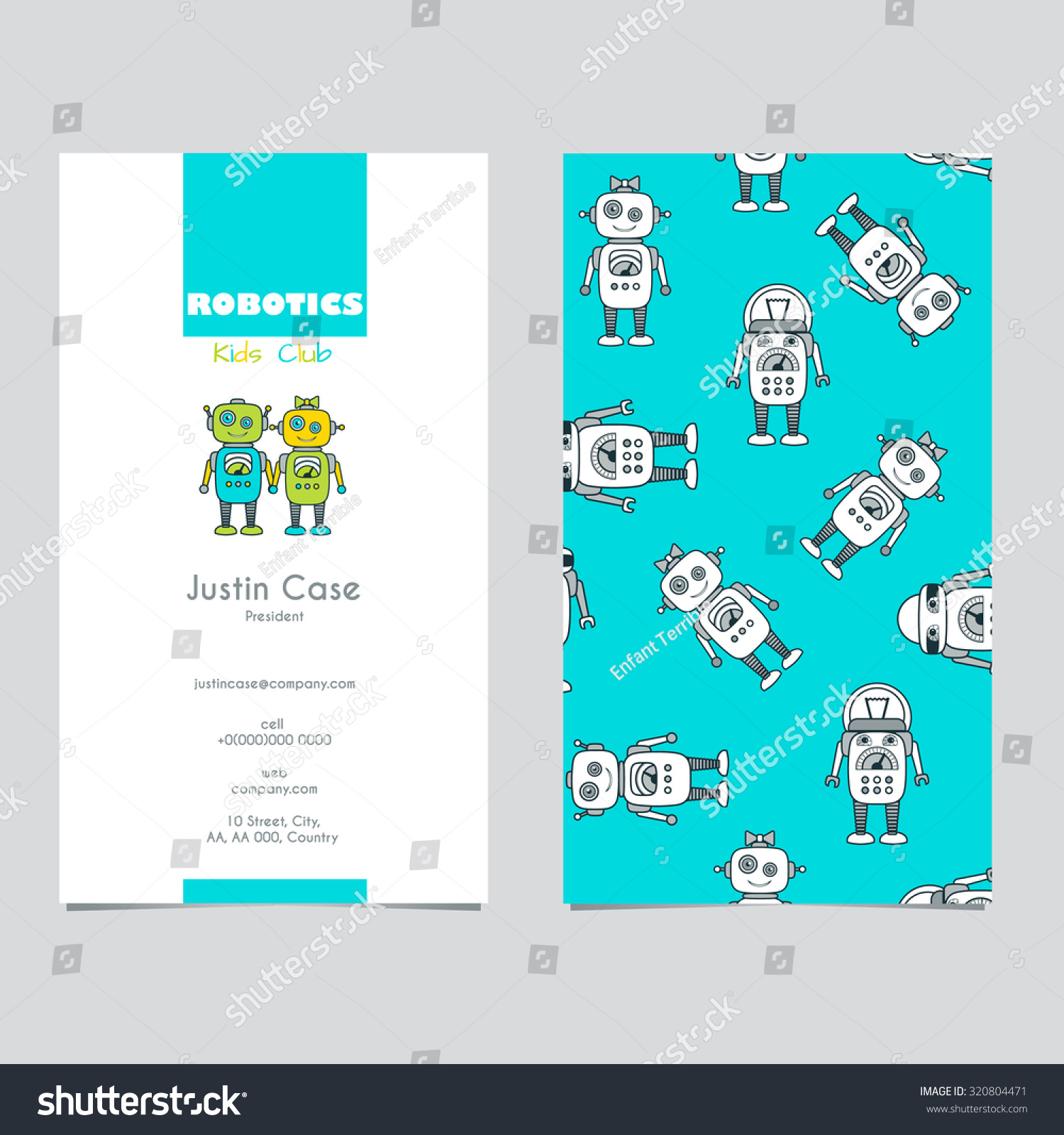 cute robot cartoon character educational flat icon business card template school after. Black Bedroom Furniture Sets. Home Design Ideas
