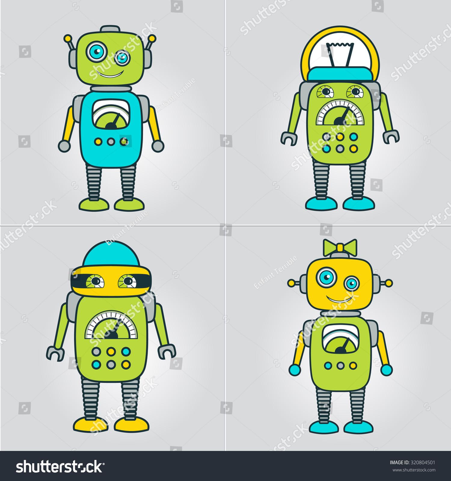 Cute Robot Cartoon Character Educational Flat Stock Vector ...