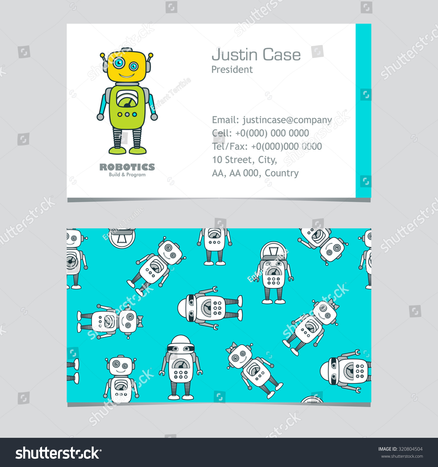 Cute robot cartoon character educational flat stock vector 320804504 cute robot cartoon character educational flat icon business card template school after reheart Gallery