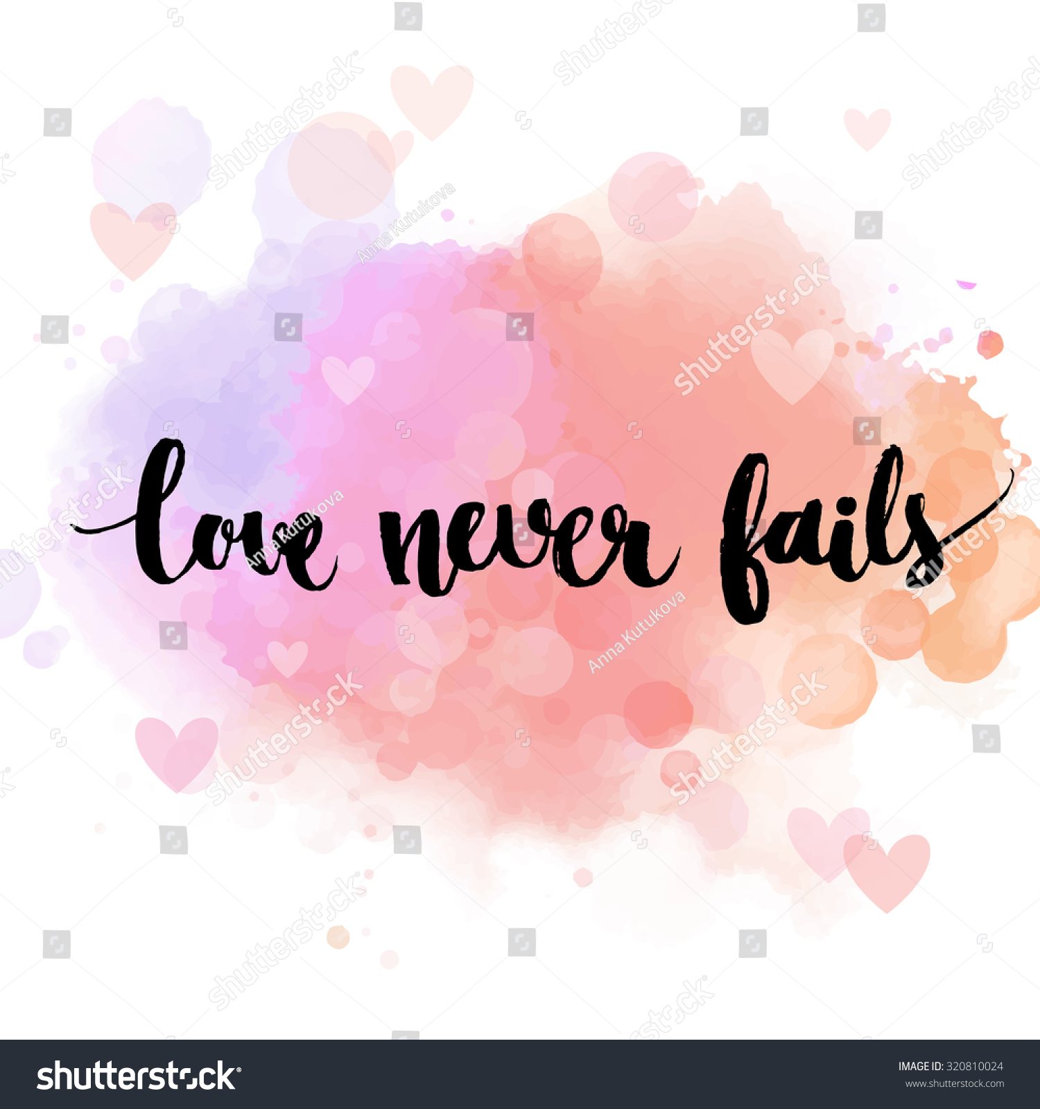 Love never fails black inspirational quote on pastel pink