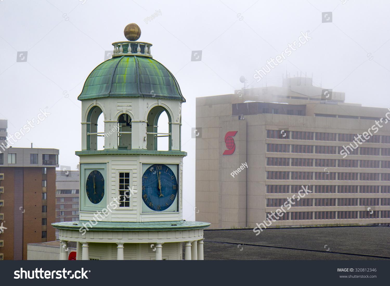 Halifax Clock Tower Scotia Bank Building Stock Photo (Edit