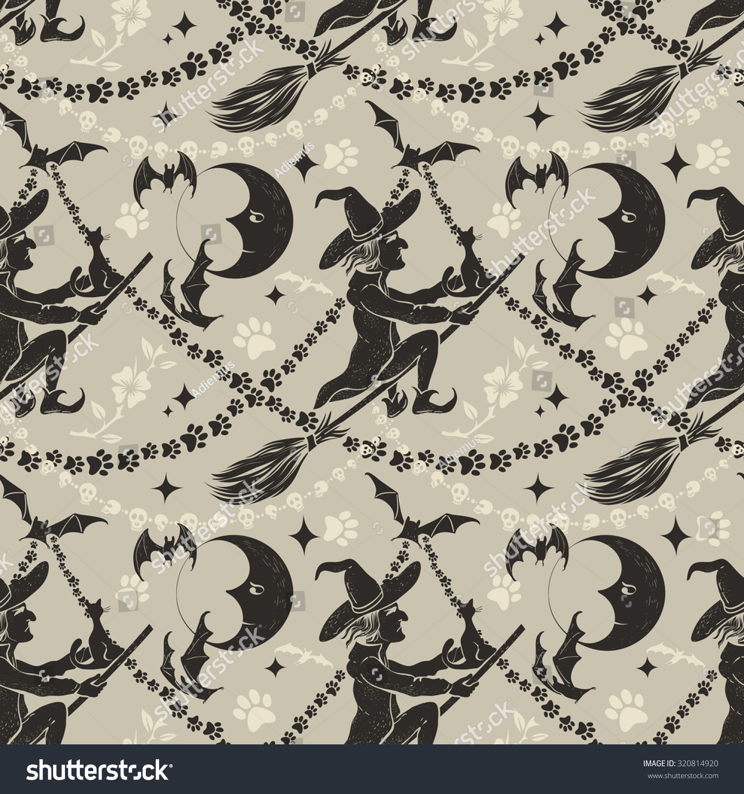 Most Inspiring Wallpaper Halloween Vintage - stock-vector-vintage-halloween-seamless-background-with-flying-witch-and-ornament-320814920  HD_628633.jpg