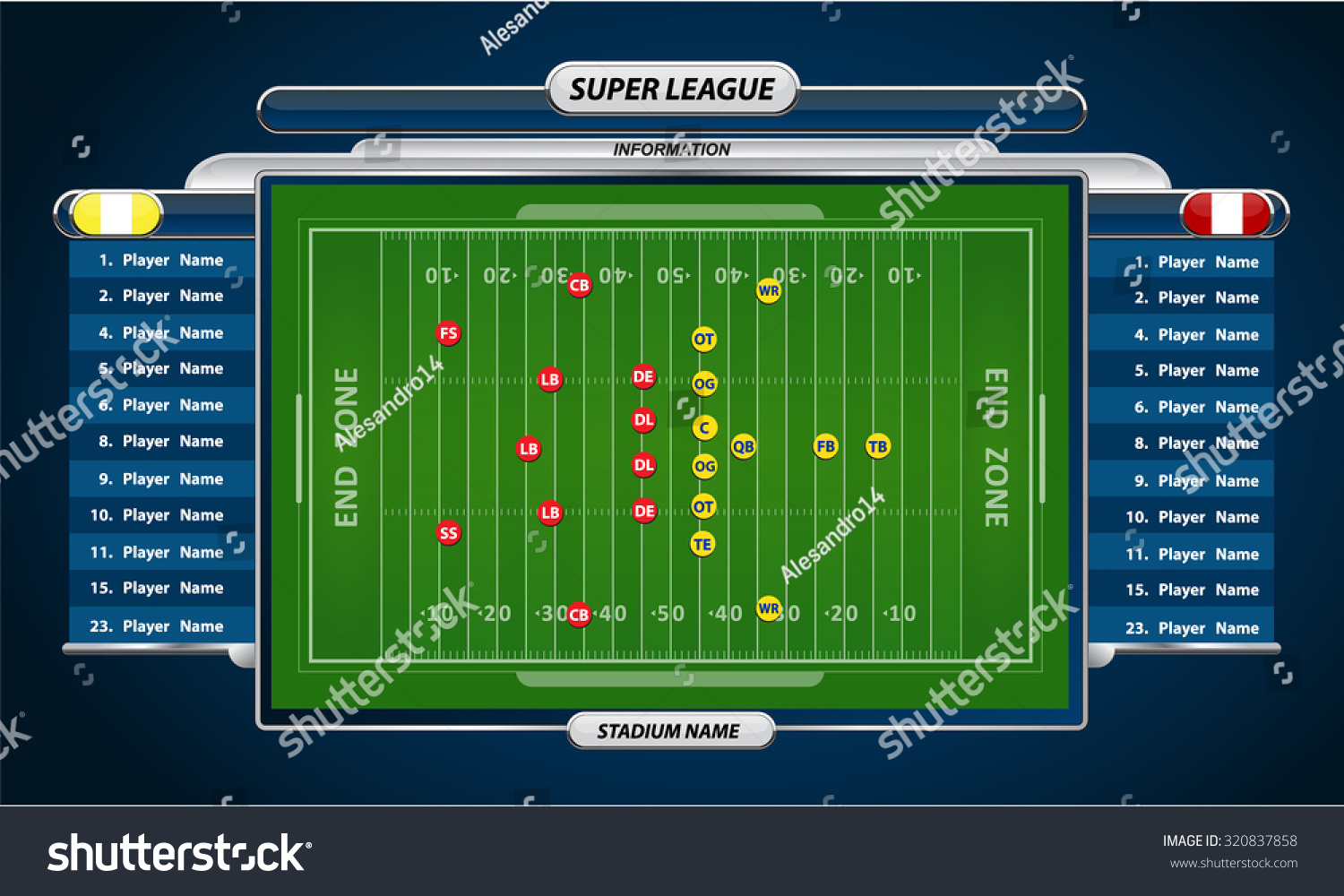 American Football Field Player Lineup Strategy Stock Vector