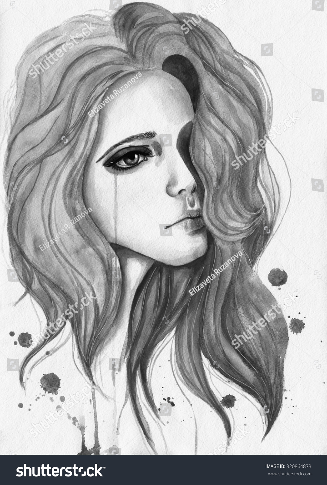Crying girl watercolor black white illustration stock image