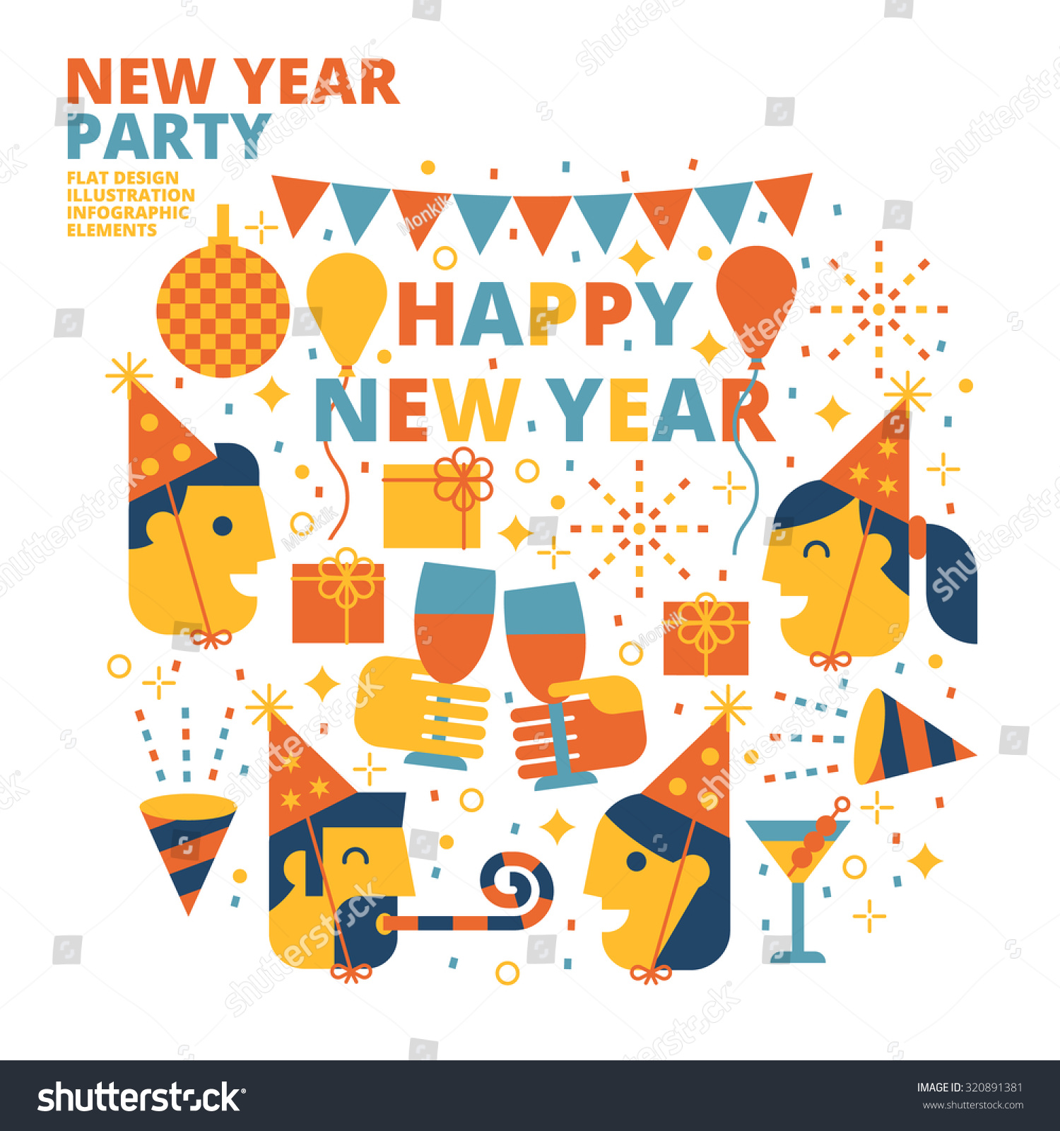 New year party happy new year flat design illustration for Terrace new year party
