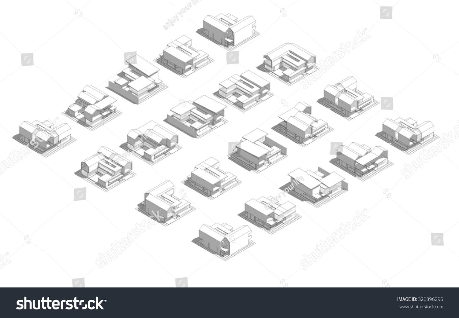 Mass Model 3d Wireframe Building Process Stock Illustration 320896295 Shutterstock