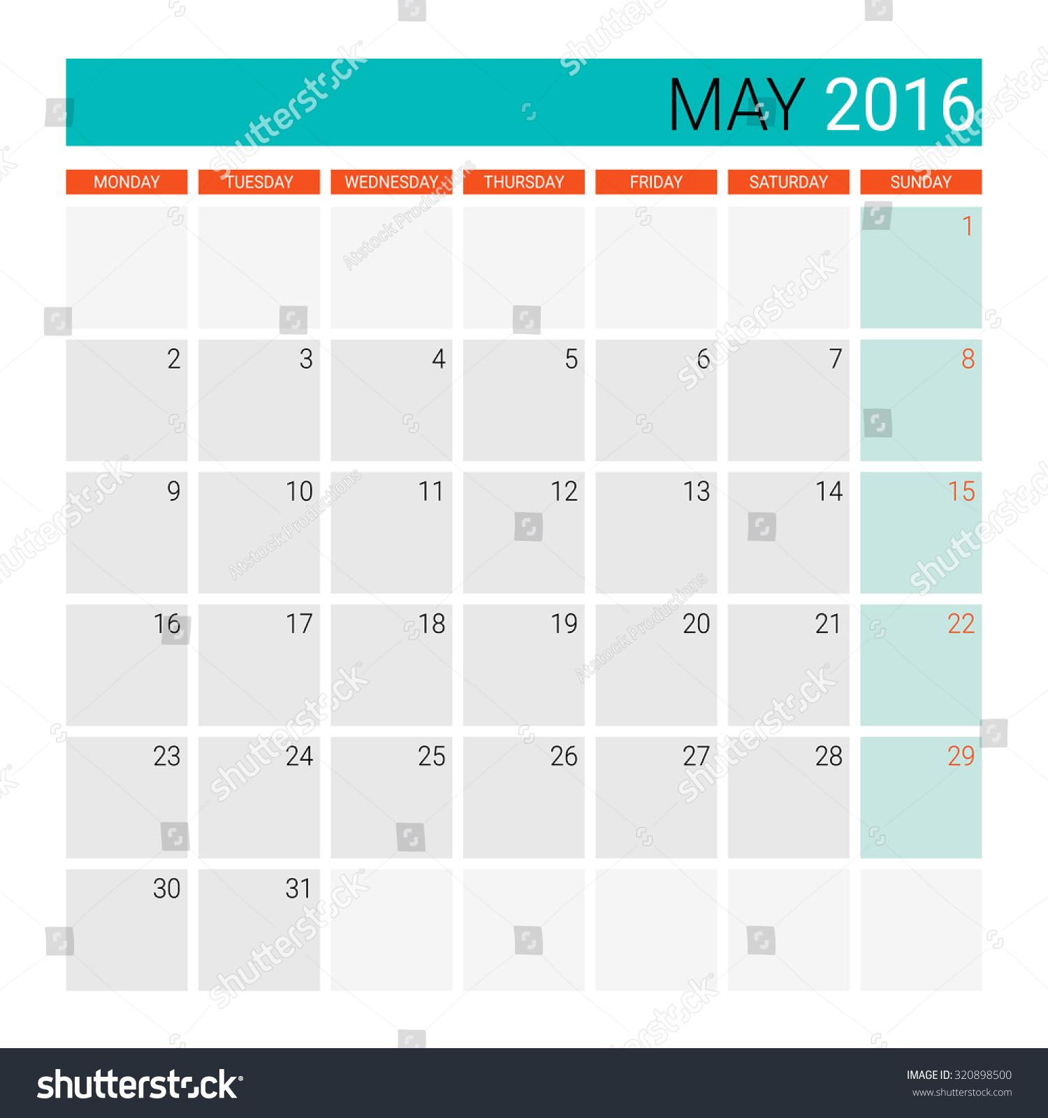 May Calendar Vector : May calendar or desk planner stock vector