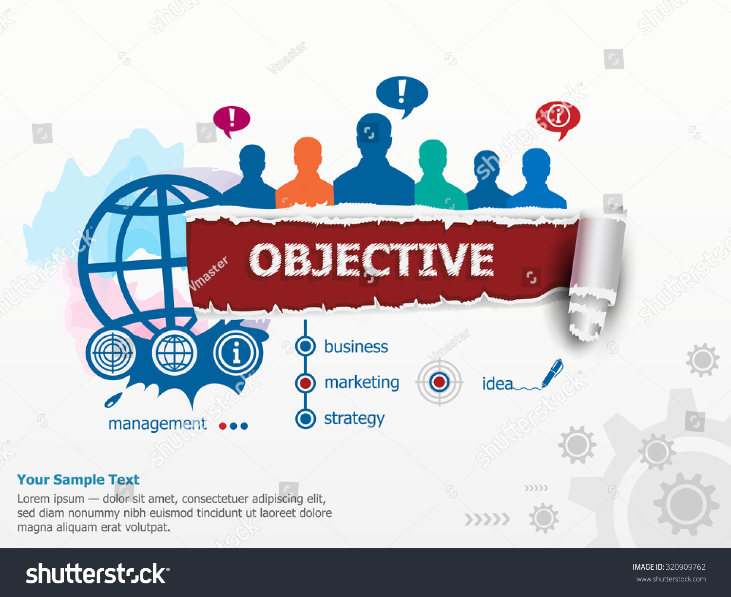 objective concept group people set flat stock vector  objective concept and group of people set of flat design illustration concepts for business