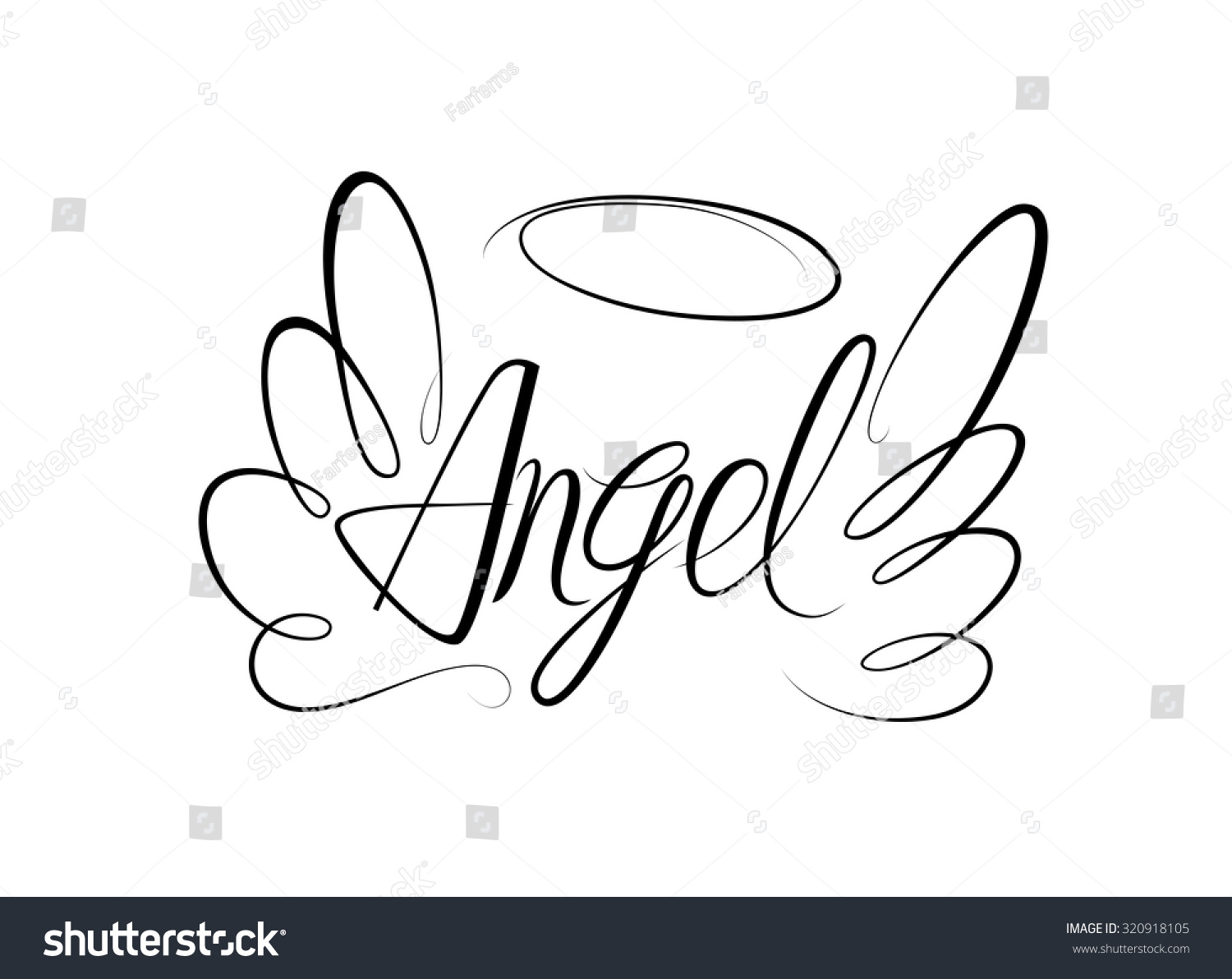 Drawing Lines With Word : Vector sketch word angel two wings stock