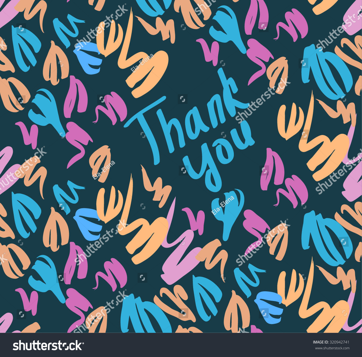 Abstract Thank You Card Hand Drawn Stock Vector (Royalty Free ...