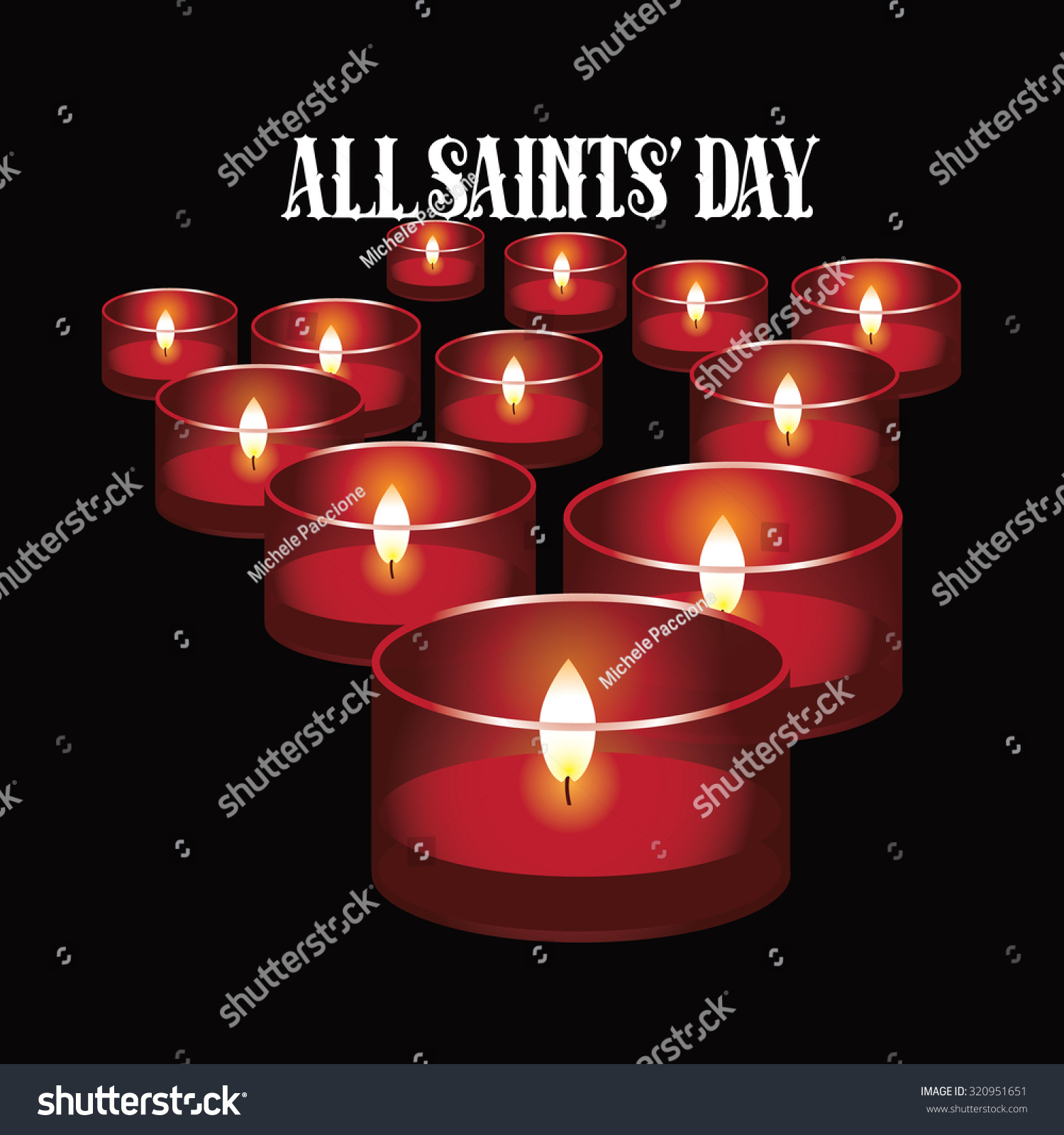 All Saints Day Red Votive Candles Stock Vector Royalty Free