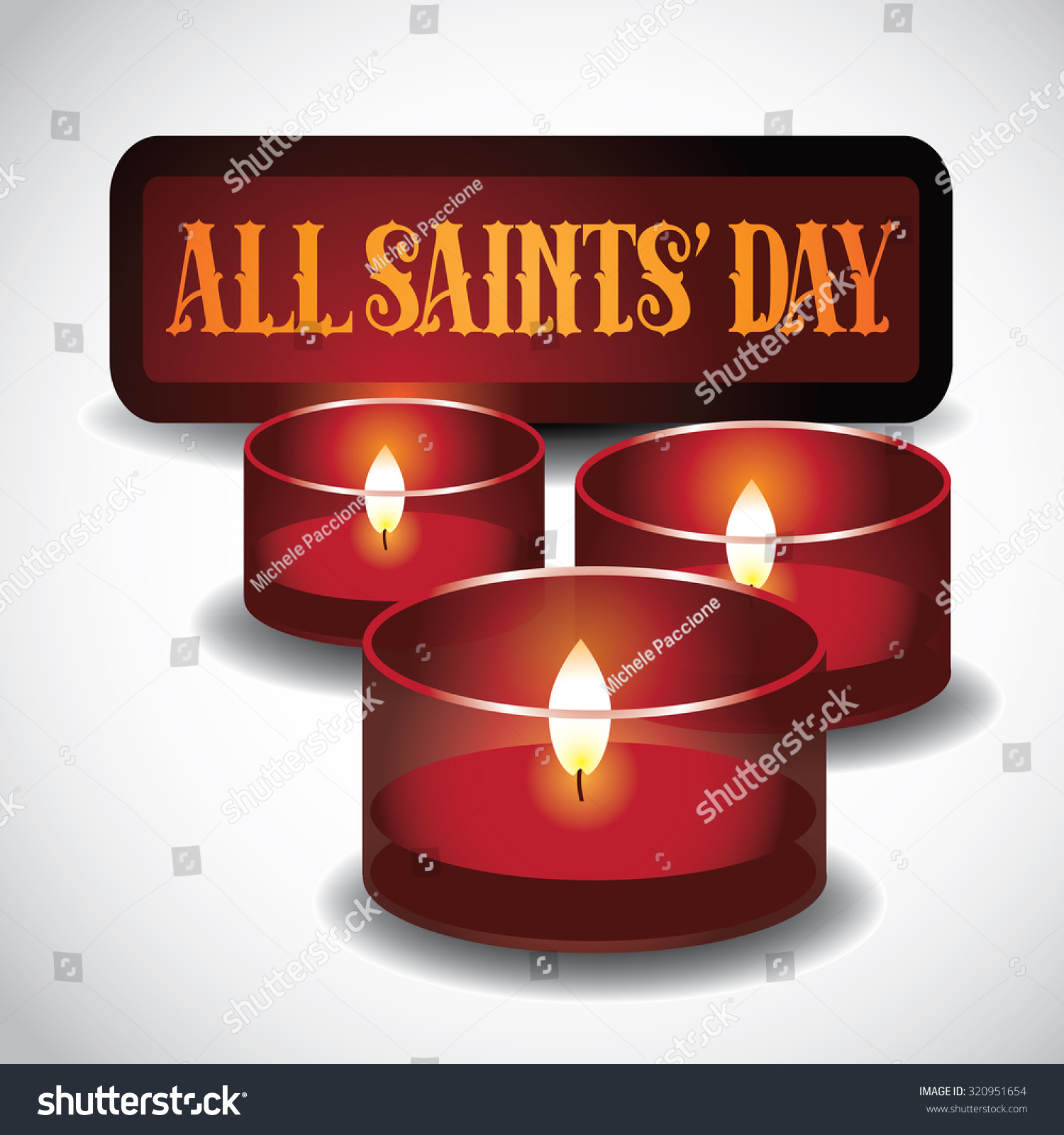 All Saints Day Red Votive Candles Stock Illustration Royalty Free