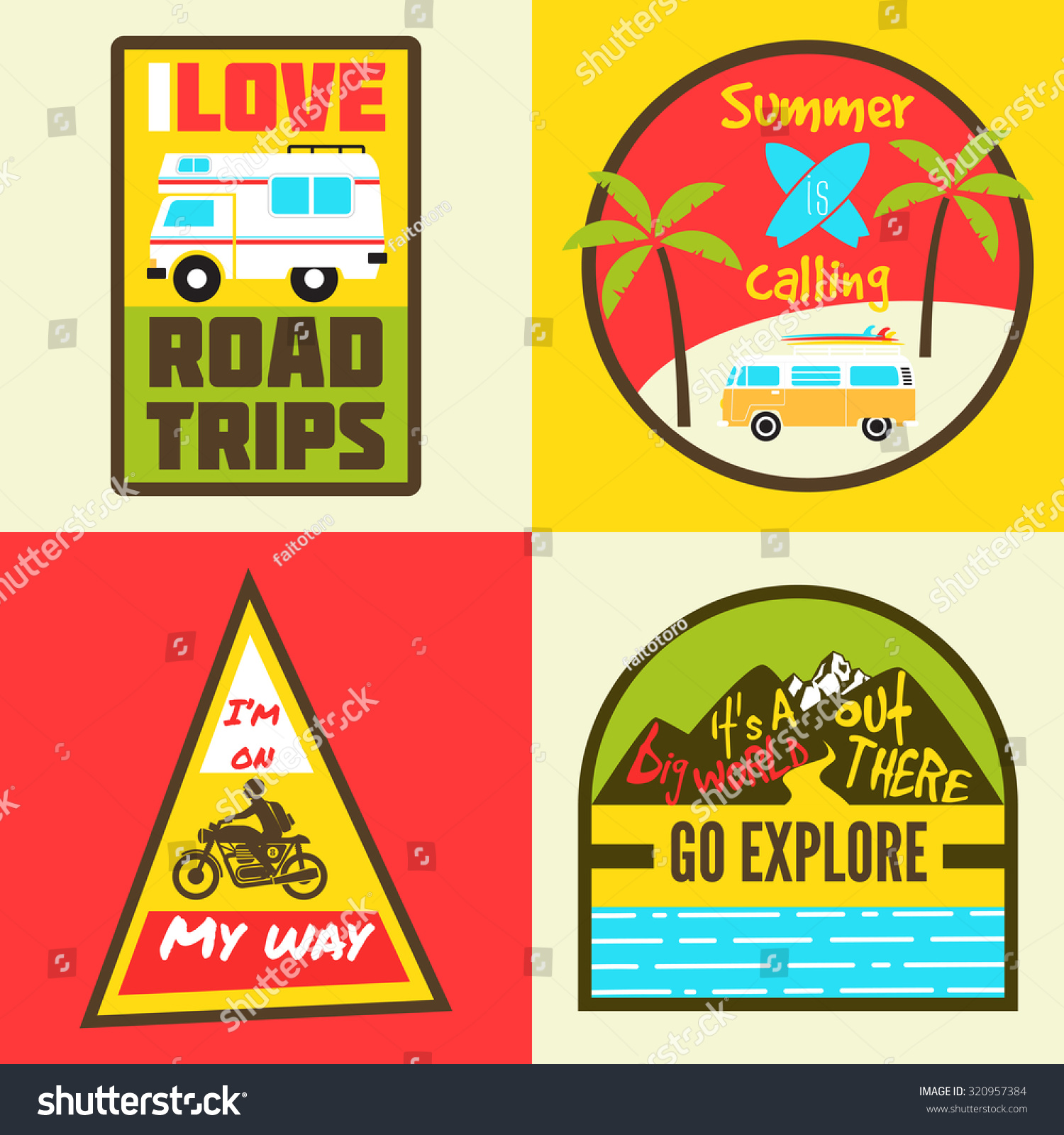 Road Trip Colorful Badges Travel Stock Vector (Royalty Free) 320957384