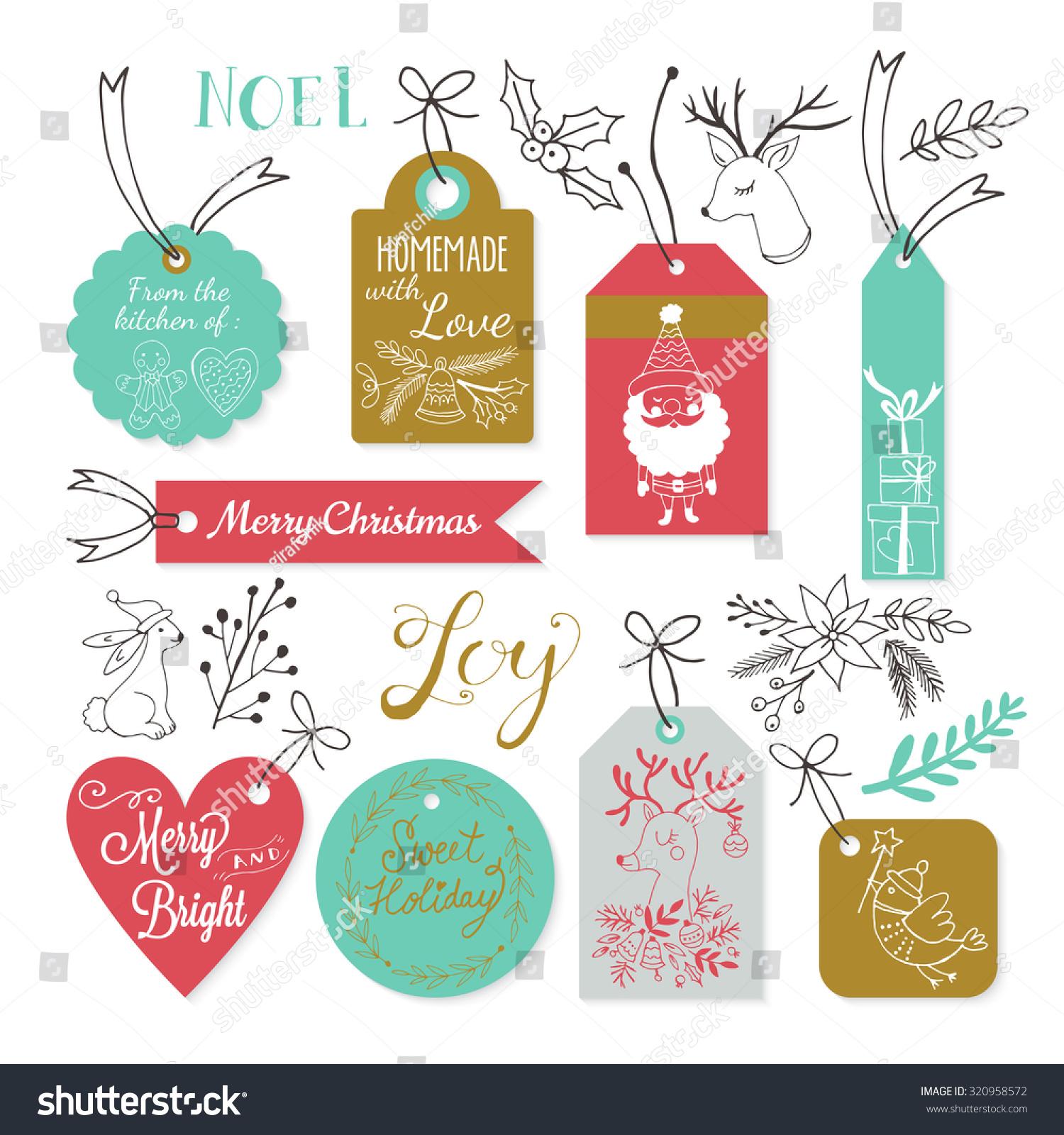 Christmas Gift Tags Design Hand Drawing Stock Vector 320958572 ...