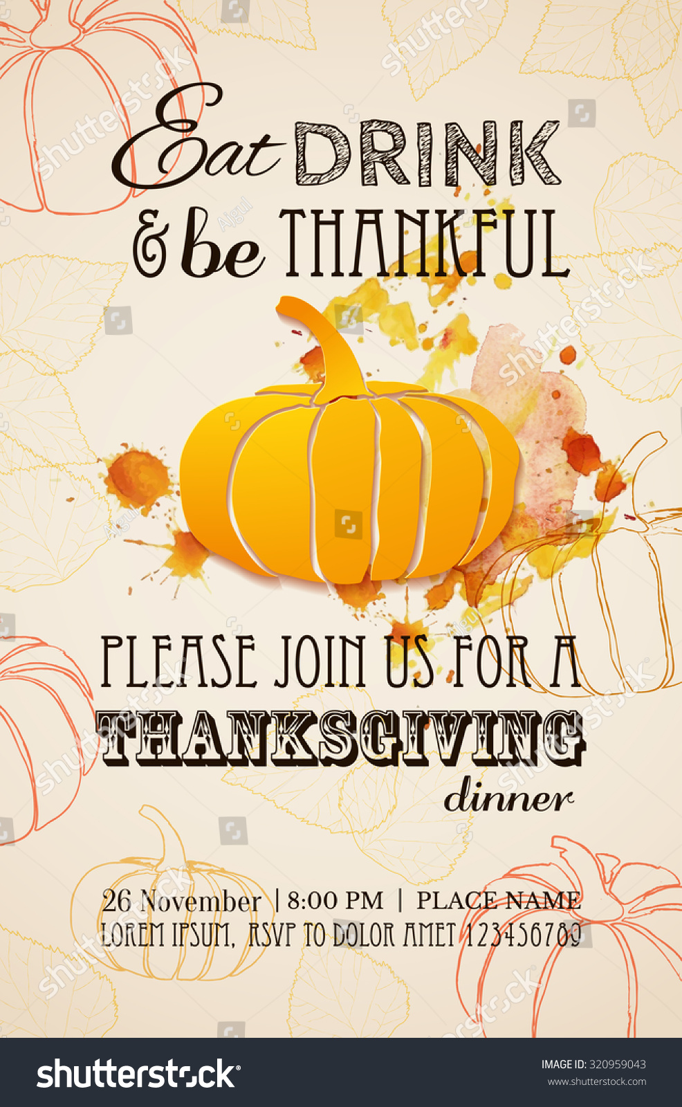 Invitation Design Thanksgiving Dinner Party Vector Stock Vector ...
