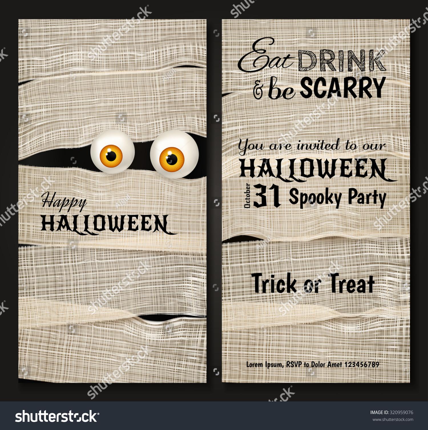 Invitation Design Halloween Party Mummys Big Stock Vector ...