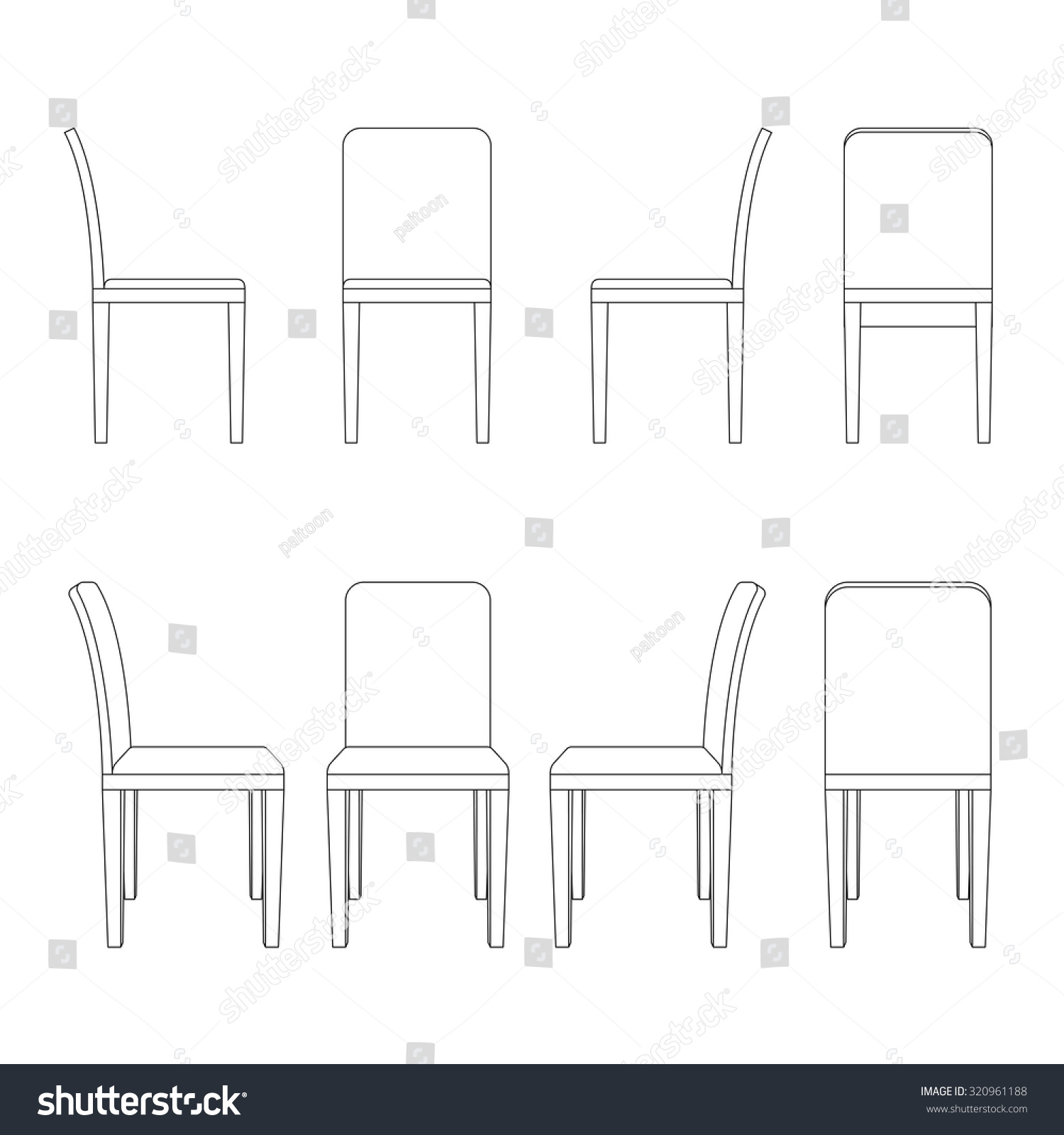 Chair illustration outline, perspective 3d front back and side views black  and white color