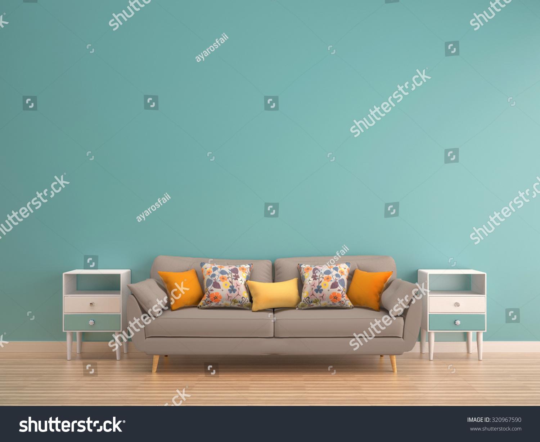 Living room with wood floor teal wall - Green Mint Wall With Sofa Sideboard On Wood Floor Interior
