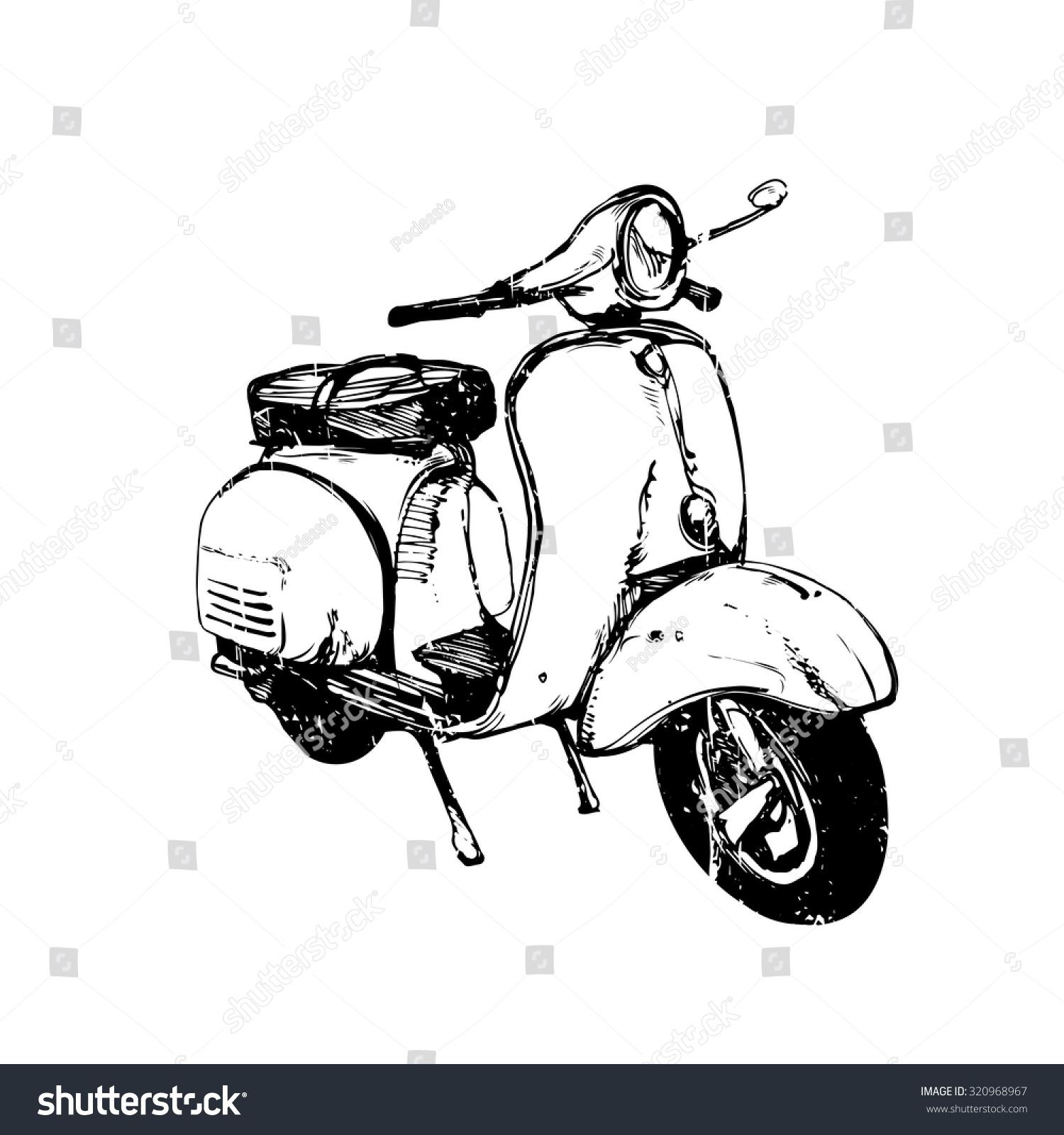 Vespa Scooter Illustration
