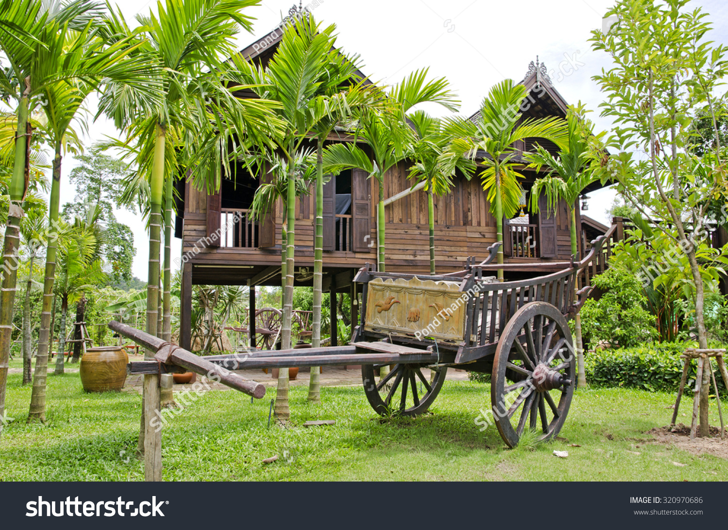 Old farmer wooden cart thai house stock photo 320970686 for Thai classic house 2