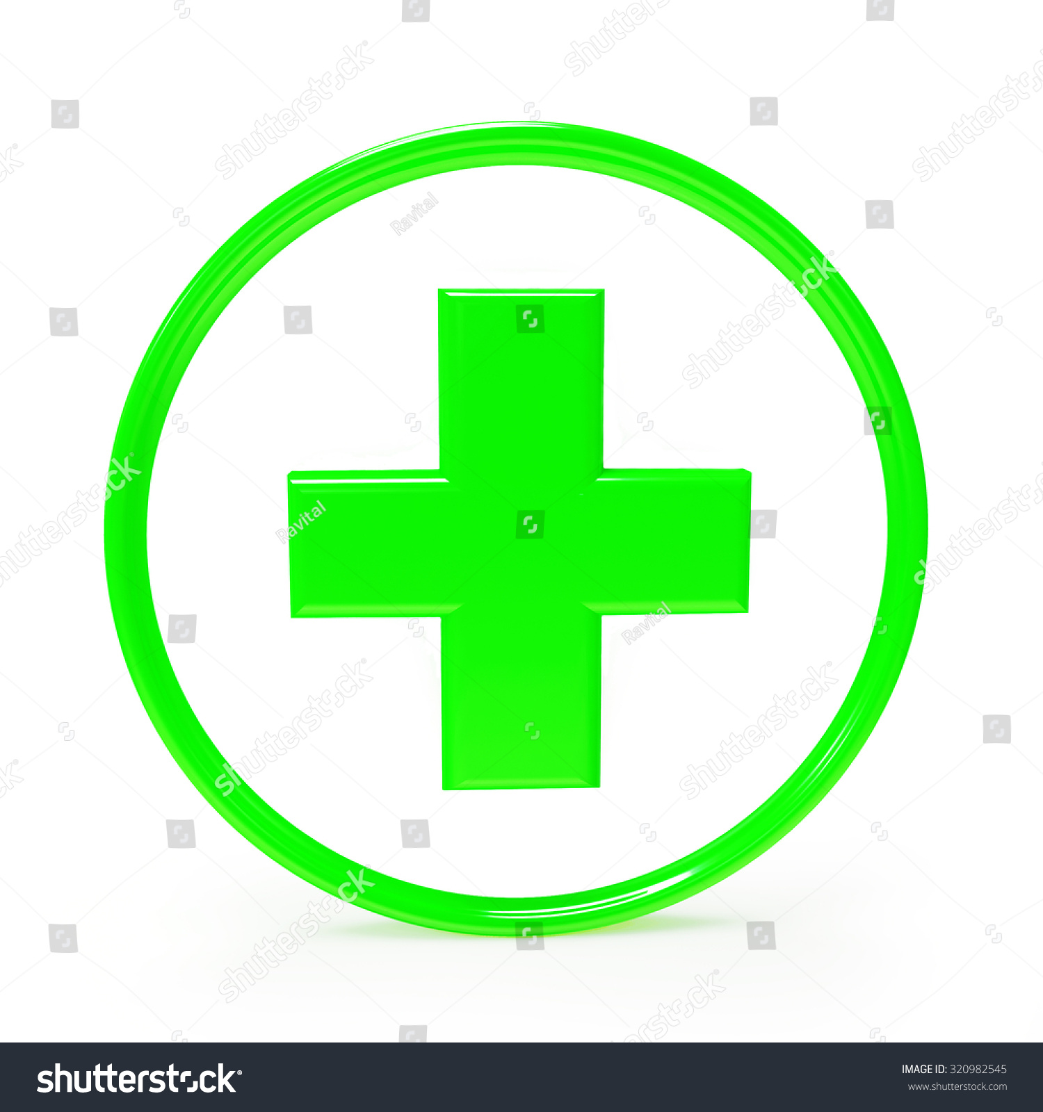 Green Plus Sign Isolated On White Stock Illustration 320982545