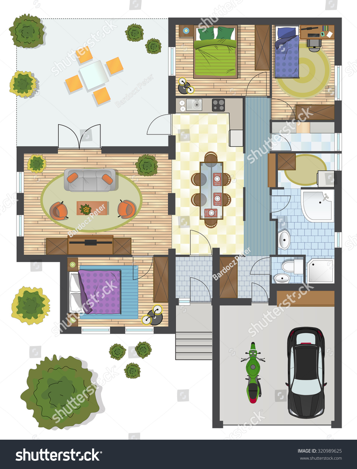 Colorful Floor Plan House Stock Vector Shutterstock