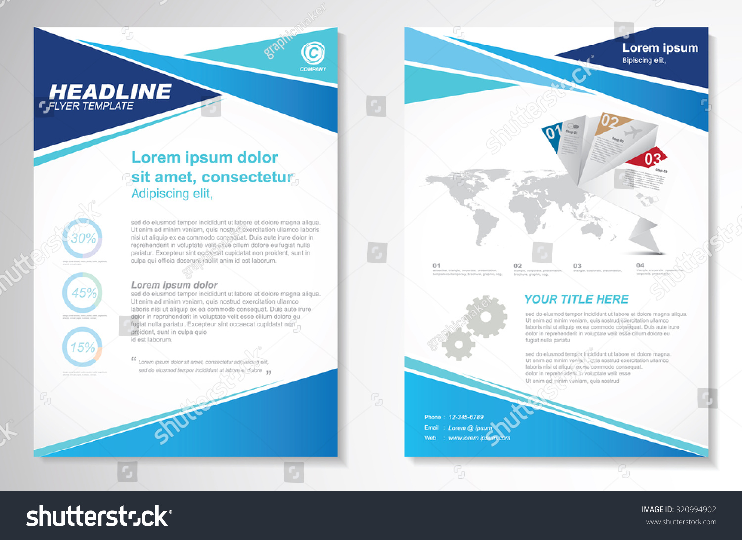a4 brochure template - vector brochure flyer design layout template stock vector