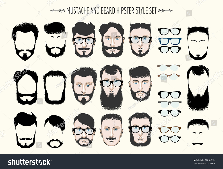 Hipster Mustache Beard Fashion Silhouette Set Stock ...
