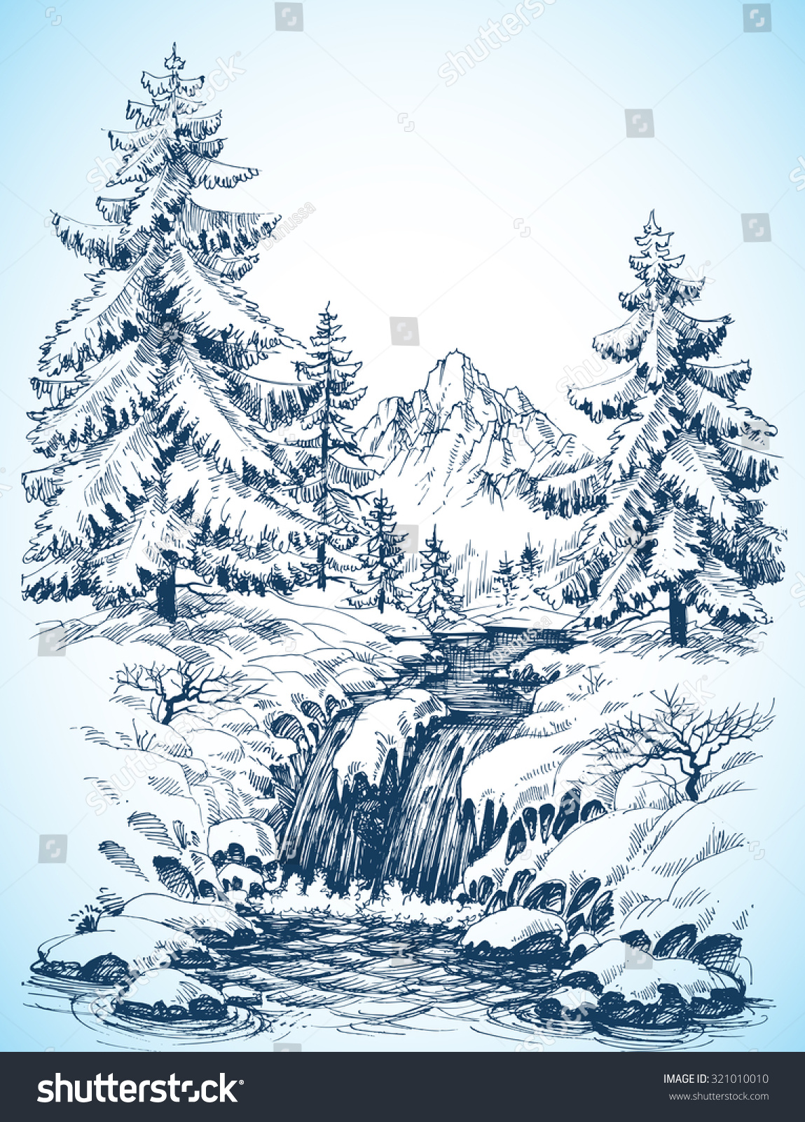 Winter Snowy Landscape, Pine Forest And River In The ...