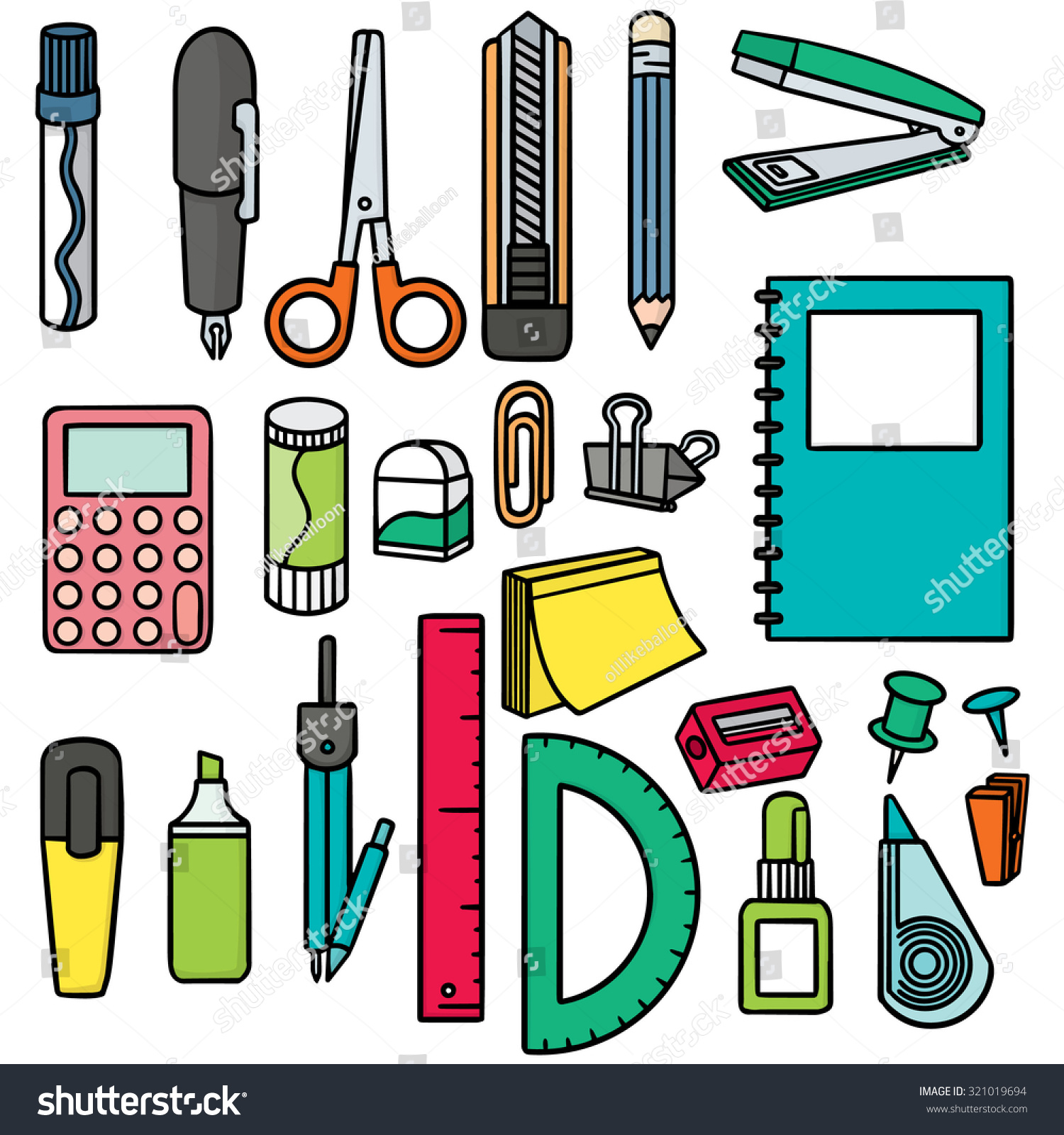 vector set stationary stock vector royalty free 321019694