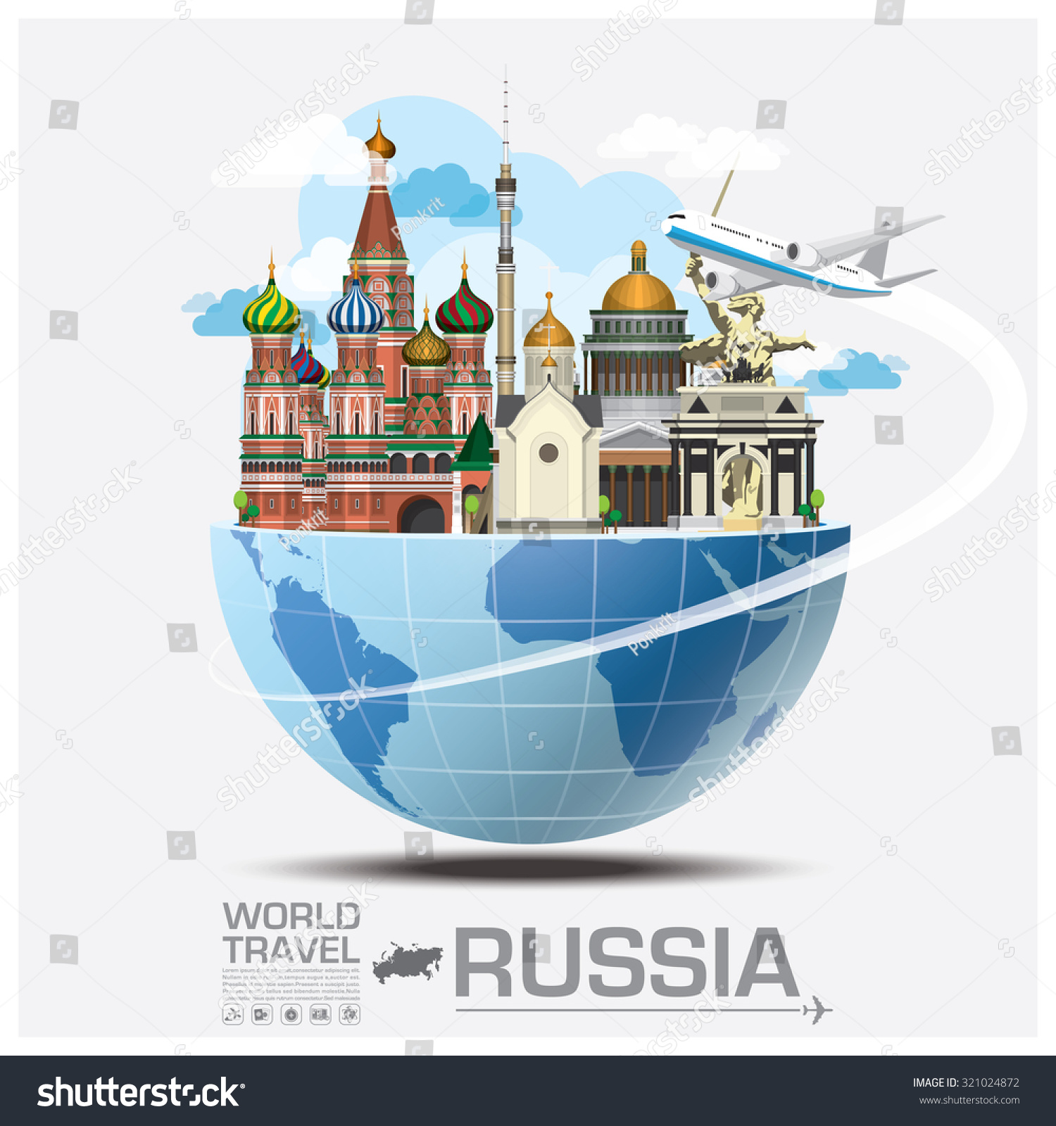 Russia landmark global travel journey infographic stock for Landmark design