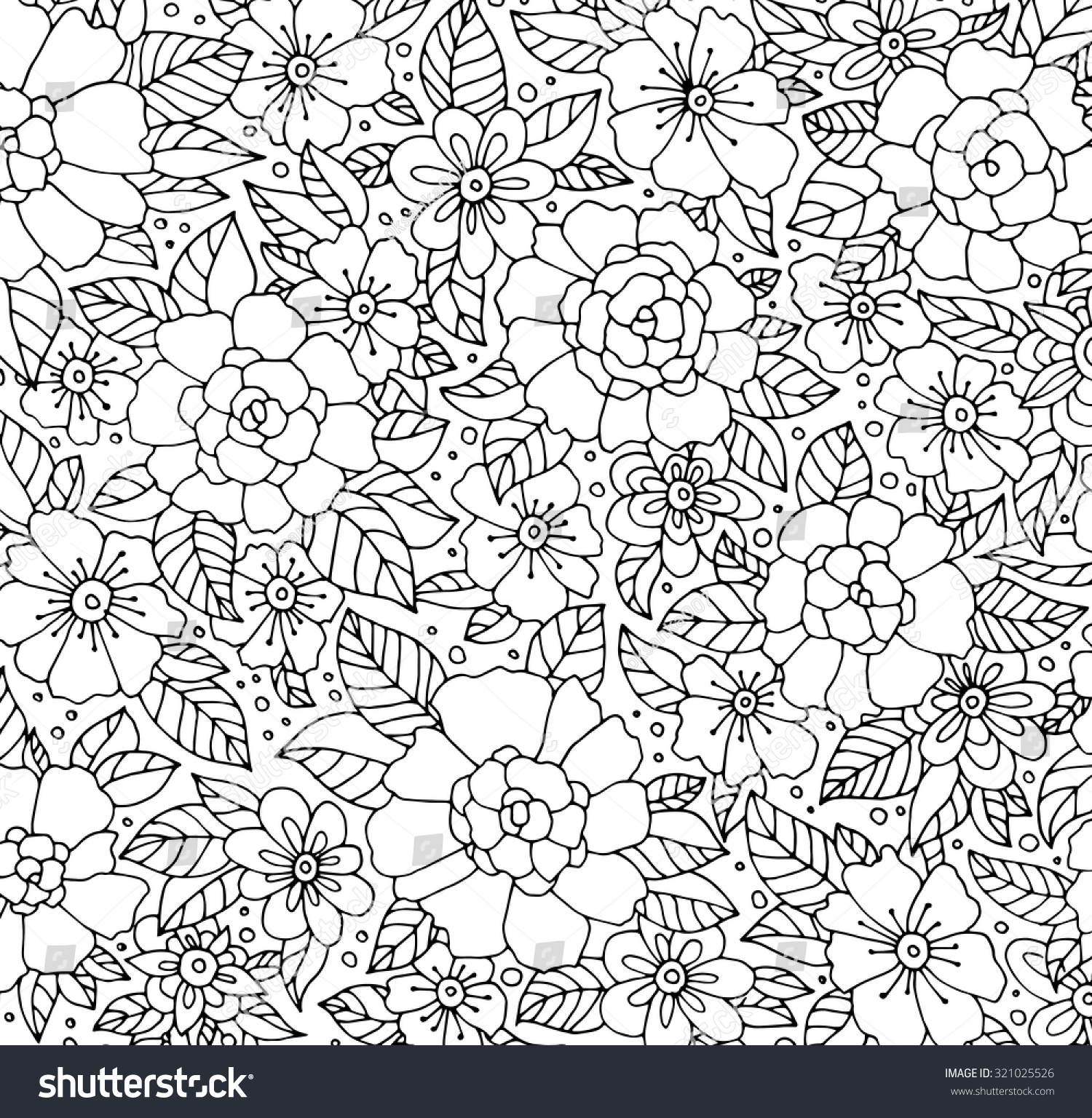 forest flowers vector coloring book pages stock vector 321025526
