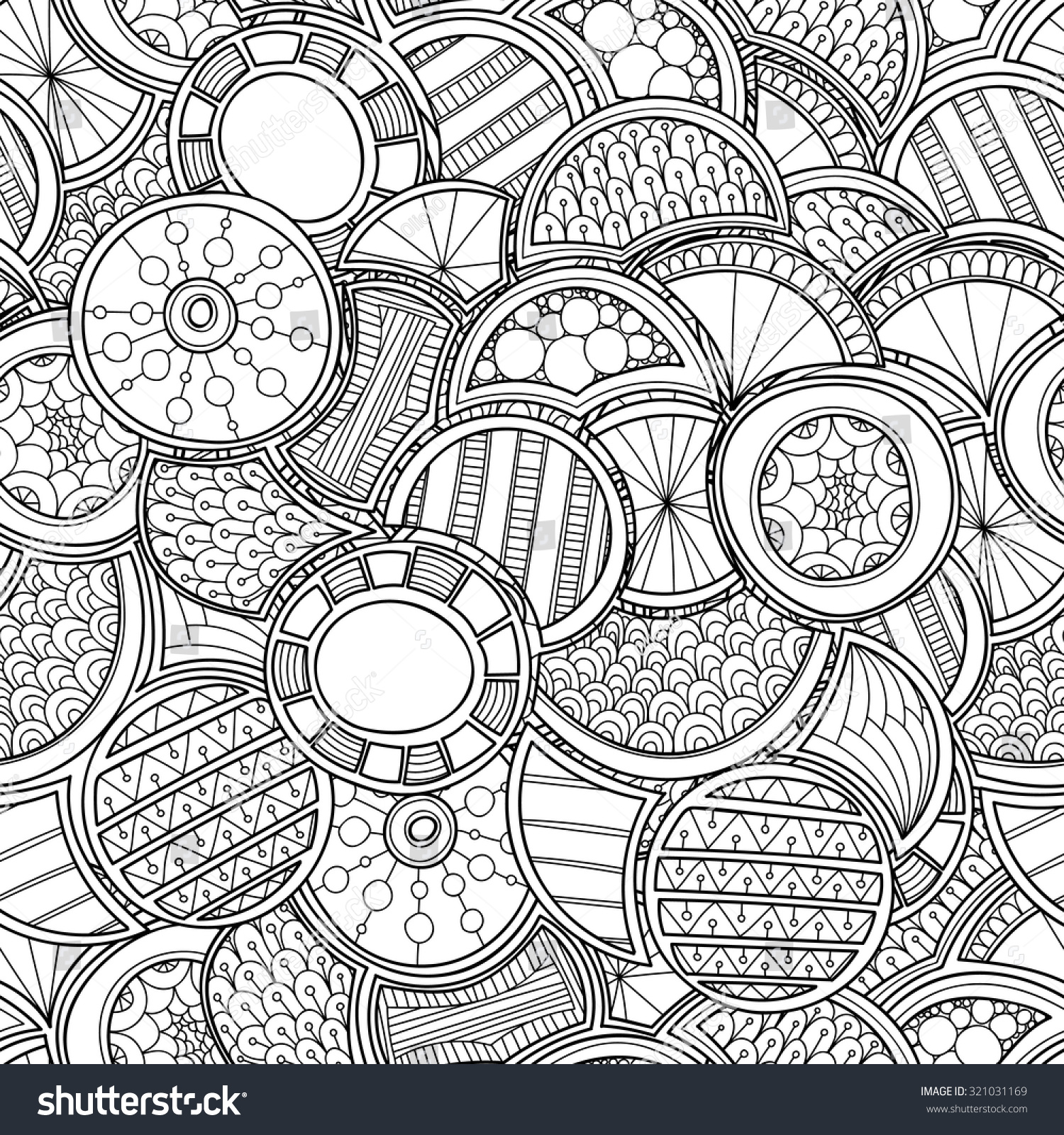 Zentangle Circles Seamless Pattern Doodle Black Stock Vector ...